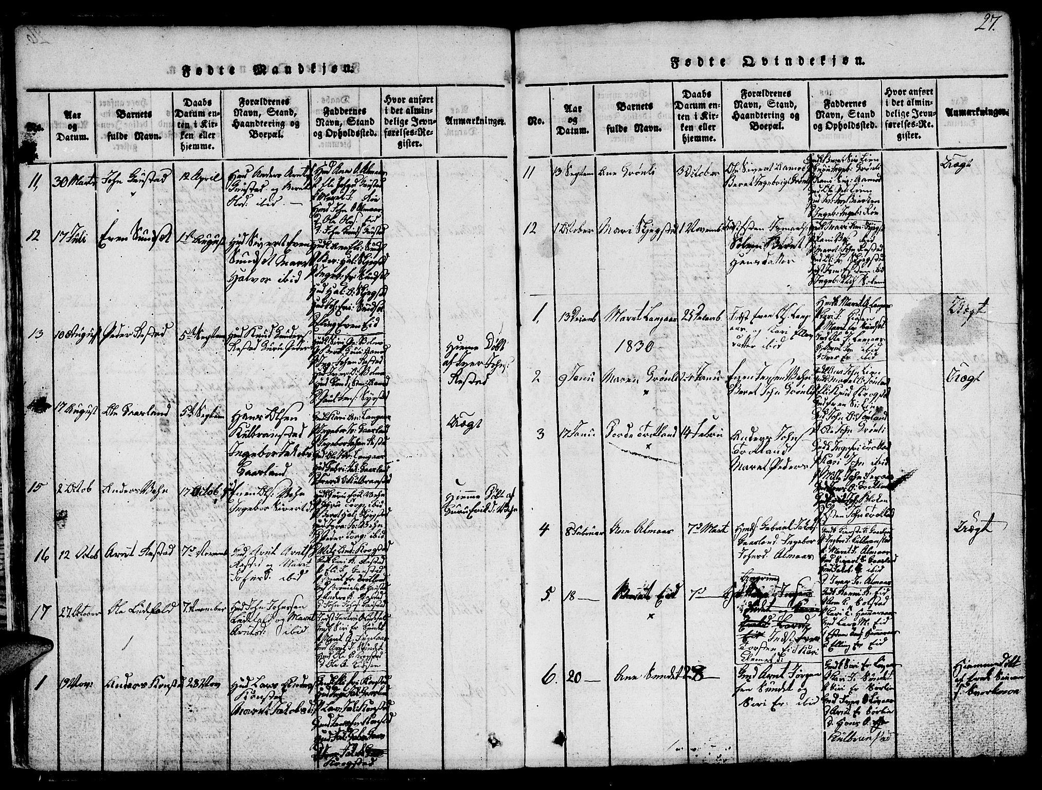 SAT, Ministerialprotokoller, klokkerbøker og fødselsregistre - Sør-Trøndelag, 694/L1130: Klokkerbok nr. 694C02, 1816-1857, s. 27