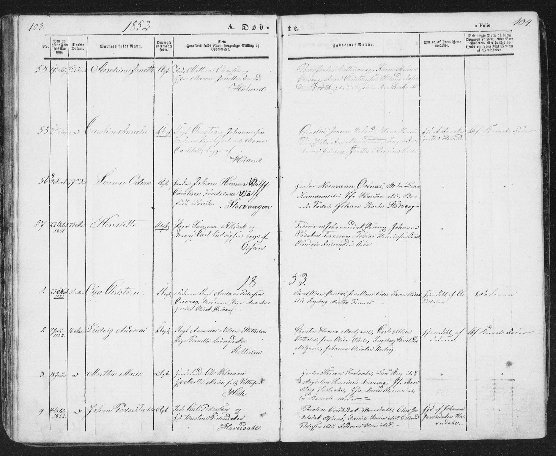 SAT, Ministerialprotokoller, klokkerbøker og fødselsregistre - Nordland, 874/L1072: Klokkerbok nr. 874C01, 1843-1859, s. 103-104