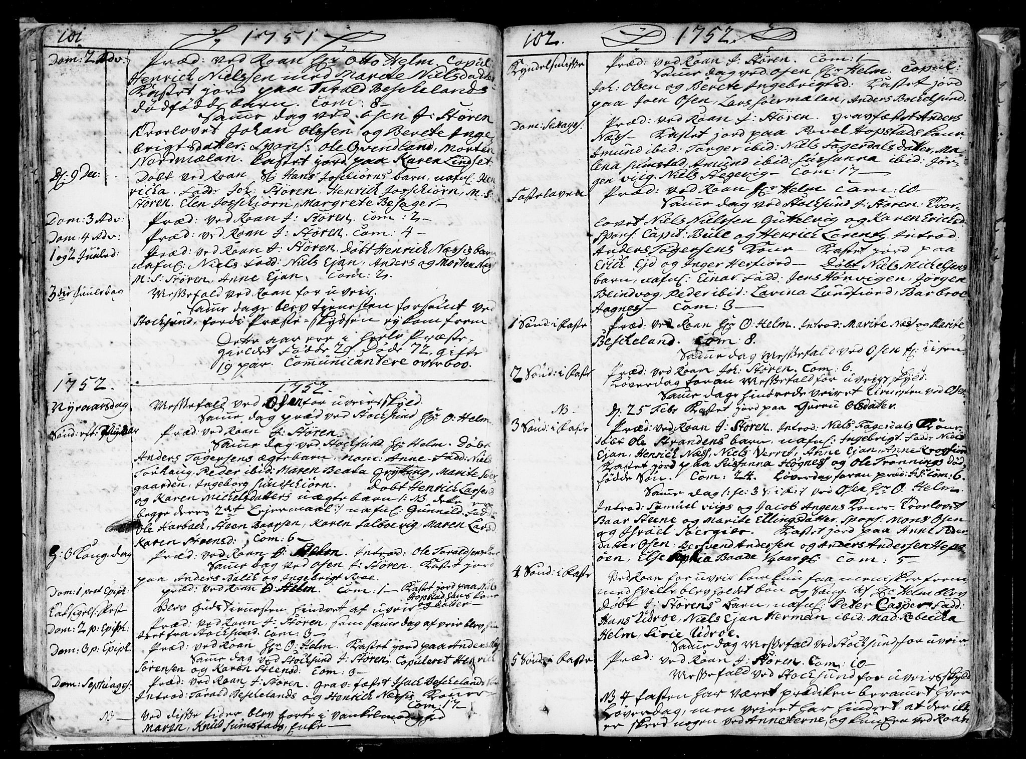 SAT, Ministerialprotokoller, klokkerbøker og fødselsregistre - Sør-Trøndelag, 657/L0700: Ministerialbok nr. 657A01, 1732-1801, s. 101-102