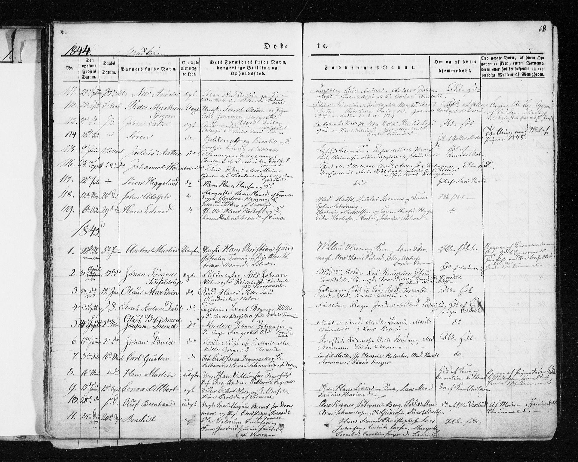 SATØ, Tromsø sokneprestkontor/stiftsprosti/domprosti, G/Ga/L0009kirke: Ministerialbok nr. 9, 1837-1847, s. 68