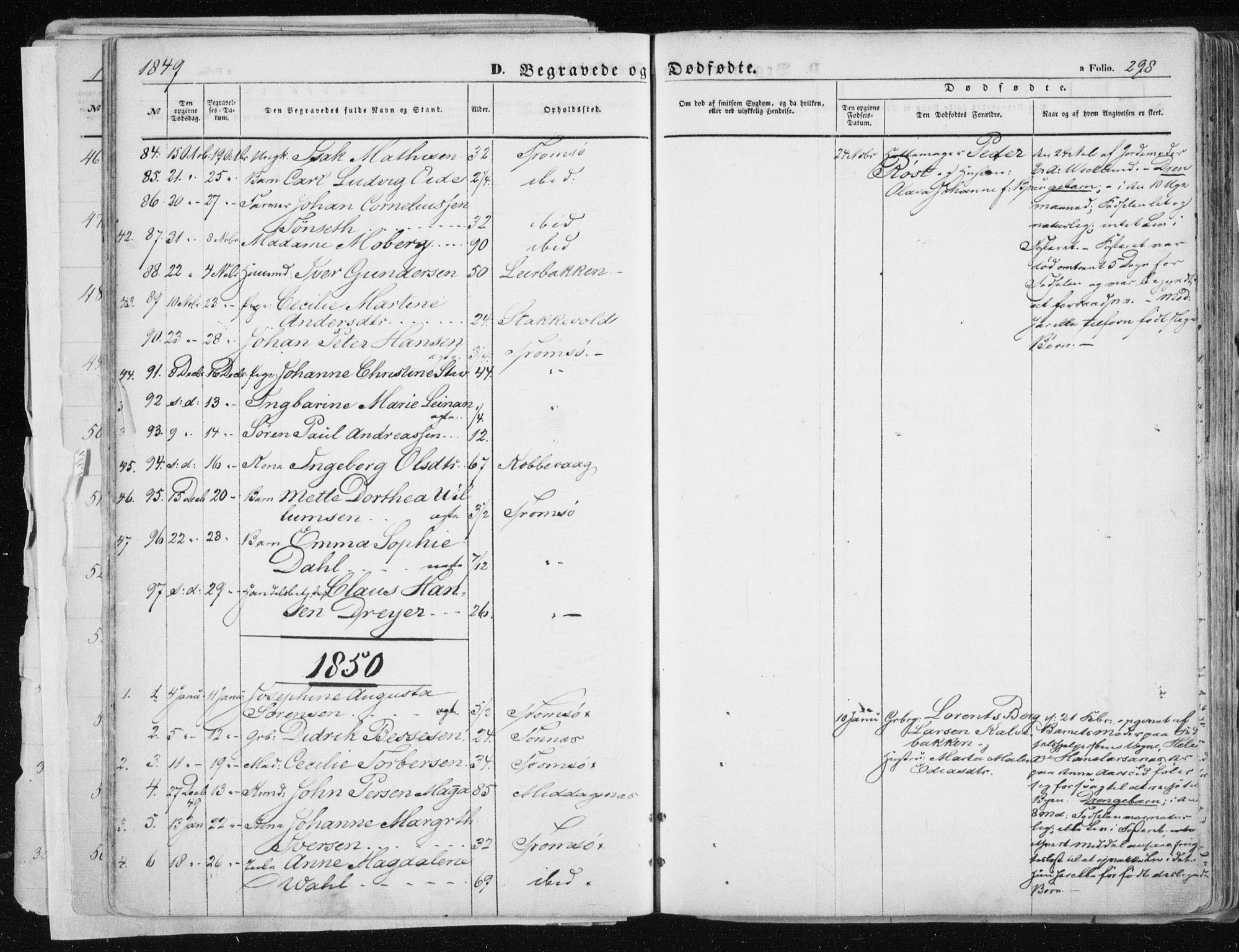 SATØ, Tromsø sokneprestkontor/stiftsprosti/domprosti, G/Ga/L0010kirke: Ministerialbok nr. 10, 1848-1855, s. 298