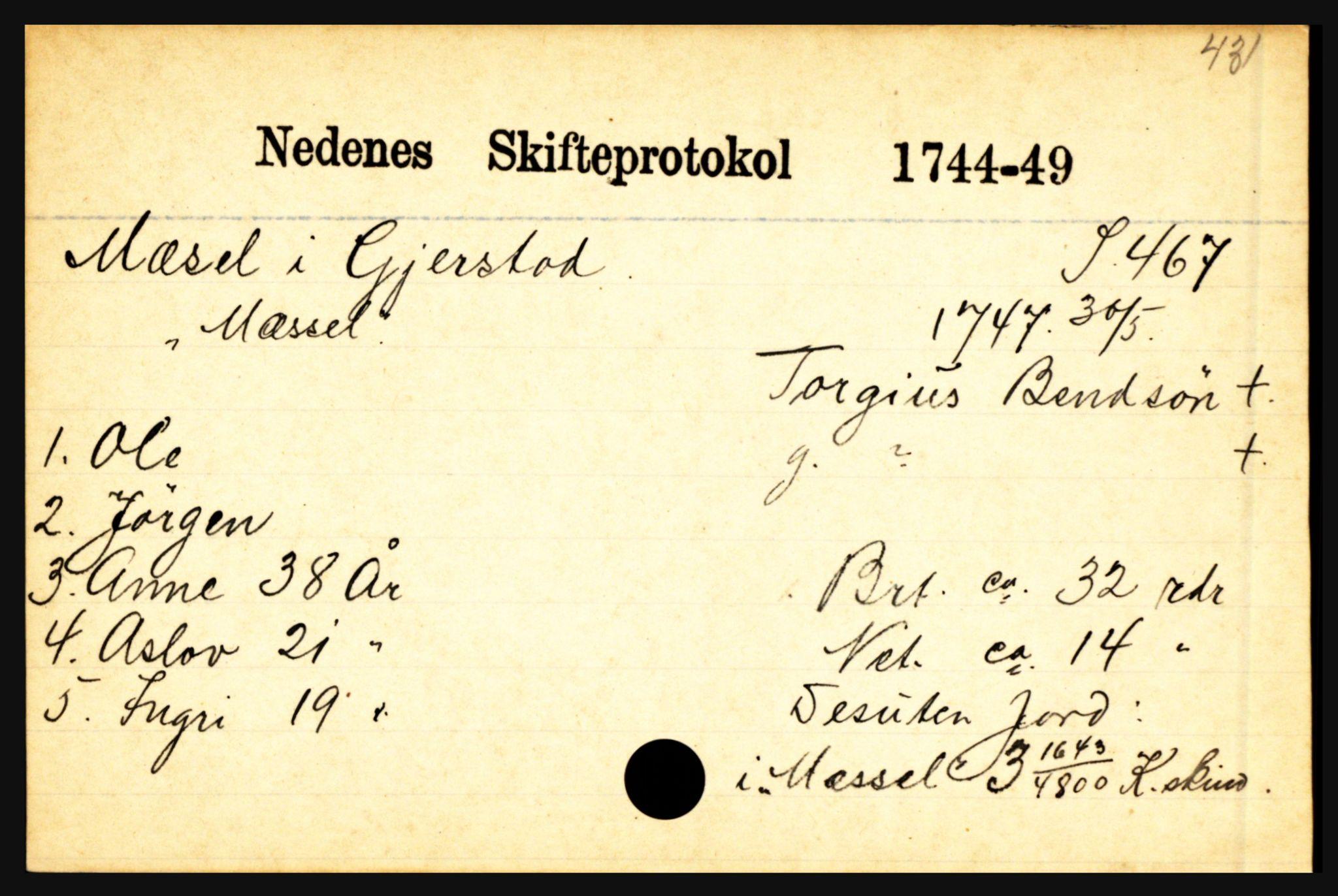 SAK, Nedenes sorenskriveri før 1824, H, s. 20637