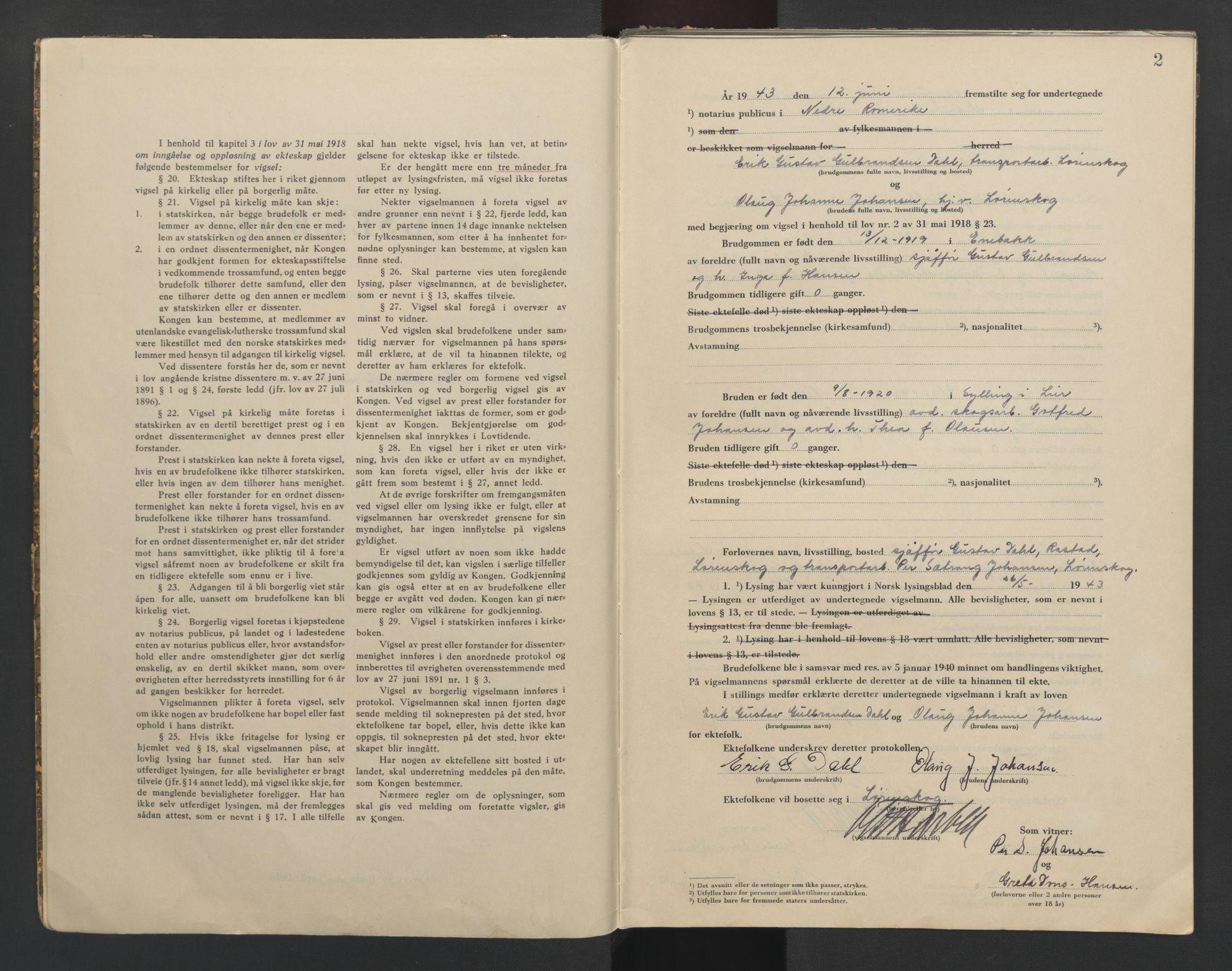SAO, Nedre Romerike sorenskriveri, L/Lb/L0004: Vigselsbok - borgerlige vielser, 1943-1944, s. 2