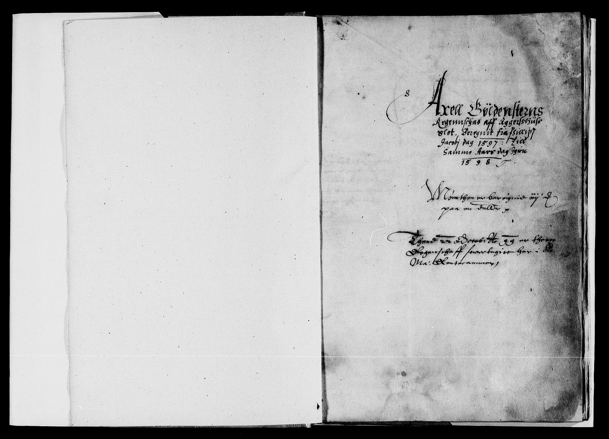 RA, Rentekammeret inntil 1814, Reviderte regnskaper, Lensregnskaper, R/Rb/Rba/L0008: Akershus len, 1597-1598