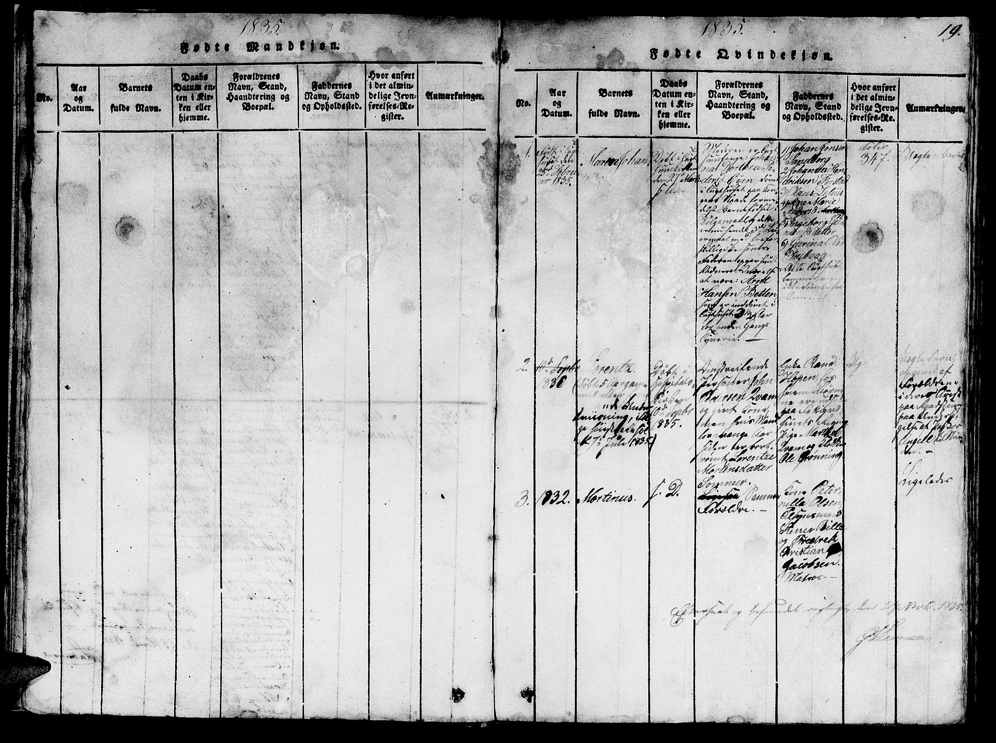 SAT, Ministerialprotokoller, klokkerbøker og fødselsregistre - Sør-Trøndelag, 623/L0478: Klokkerbok nr. 623C01, 1815-1873, s. 19
