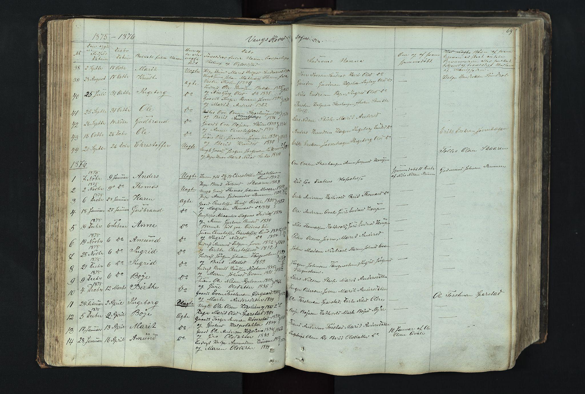 SAH, Vang prestekontor, Valdres, Klokkerbok nr. 4, 1835-1892, s. 69