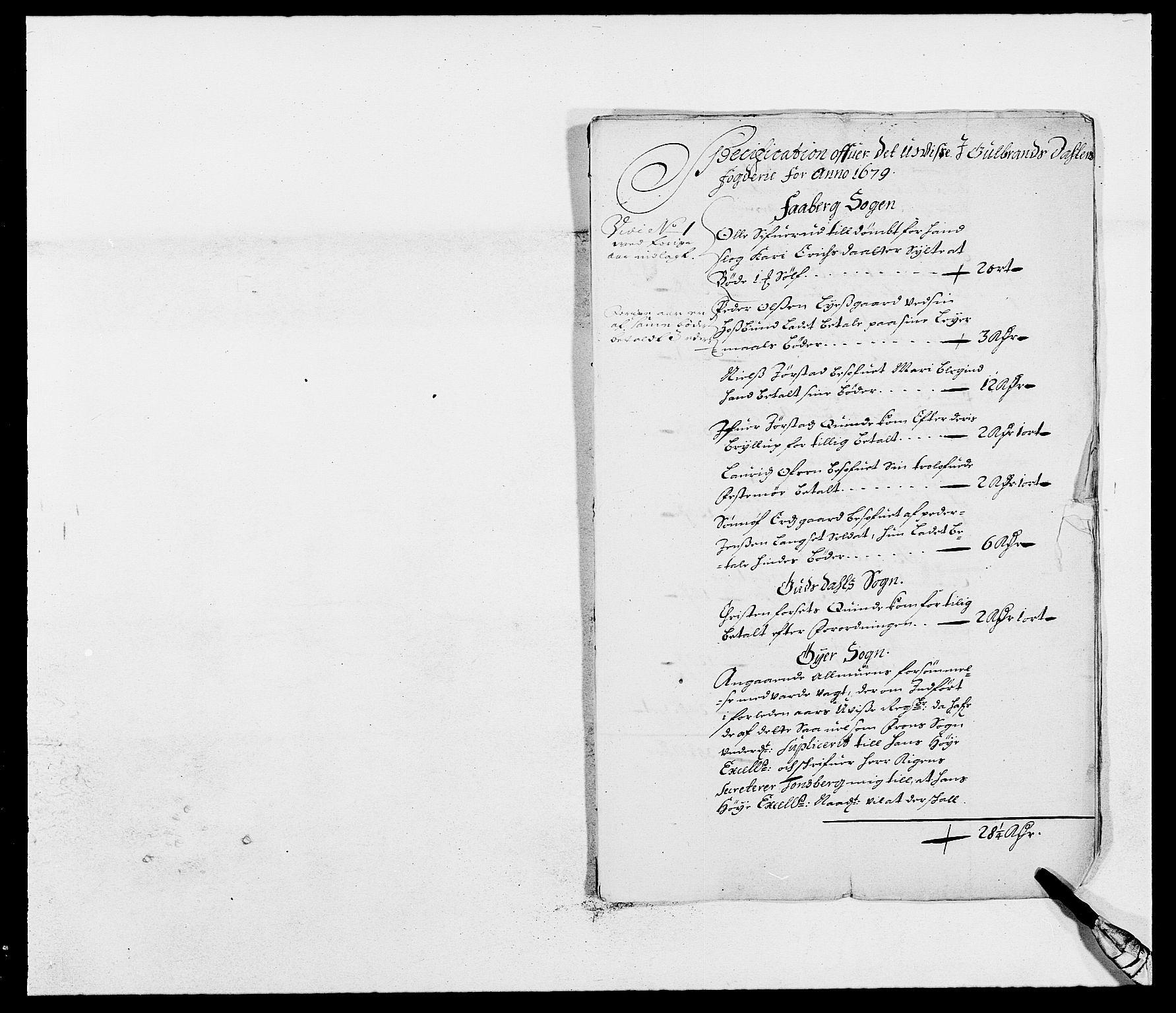 RA, Rentekammeret inntil 1814, Reviderte regnskaper, Fogderegnskap, R17/L1153: Fogderegnskap Gudbrandsdal, 1678-1679, s. 190