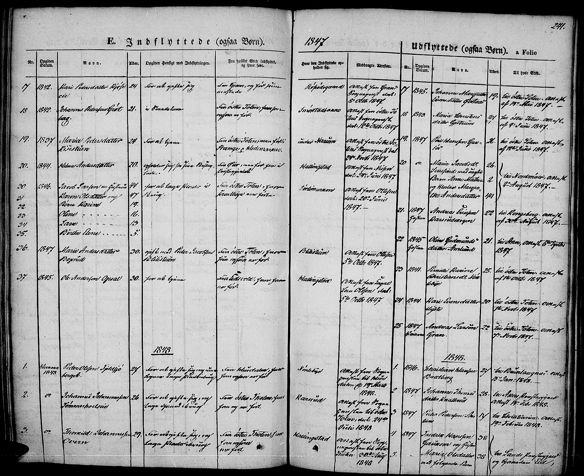 SAH, Vestre Toten prestekontor, H/Ha/Haa/L0004: Ministerialbok nr. 4, 1844-1849, s. 241