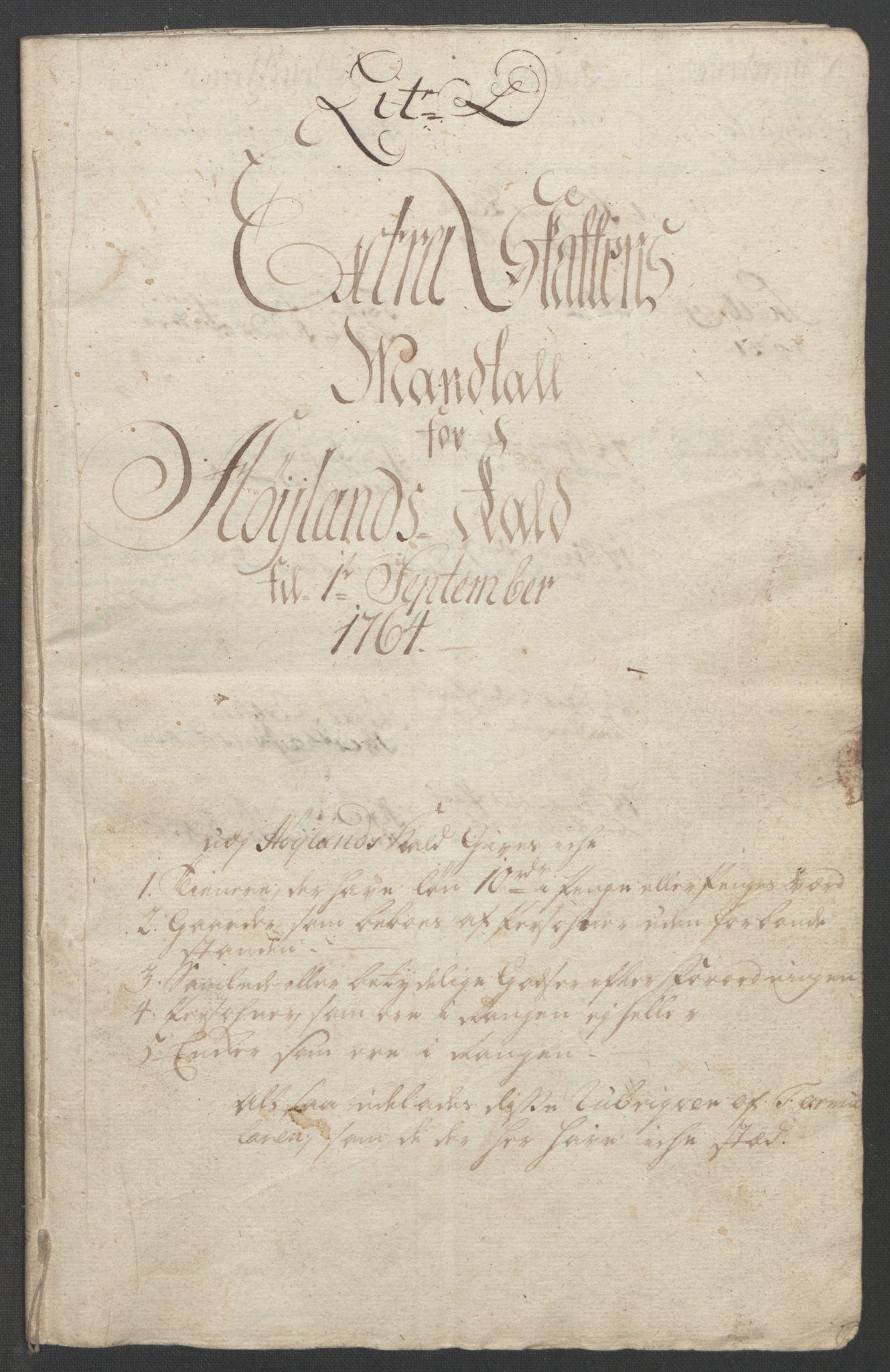 RA, Rentekammeret inntil 1814, Reviderte regnskaper, Fogderegnskap, R46/L2836: Ekstraskatten Jæren og Dalane, 1764-1766, s. 143