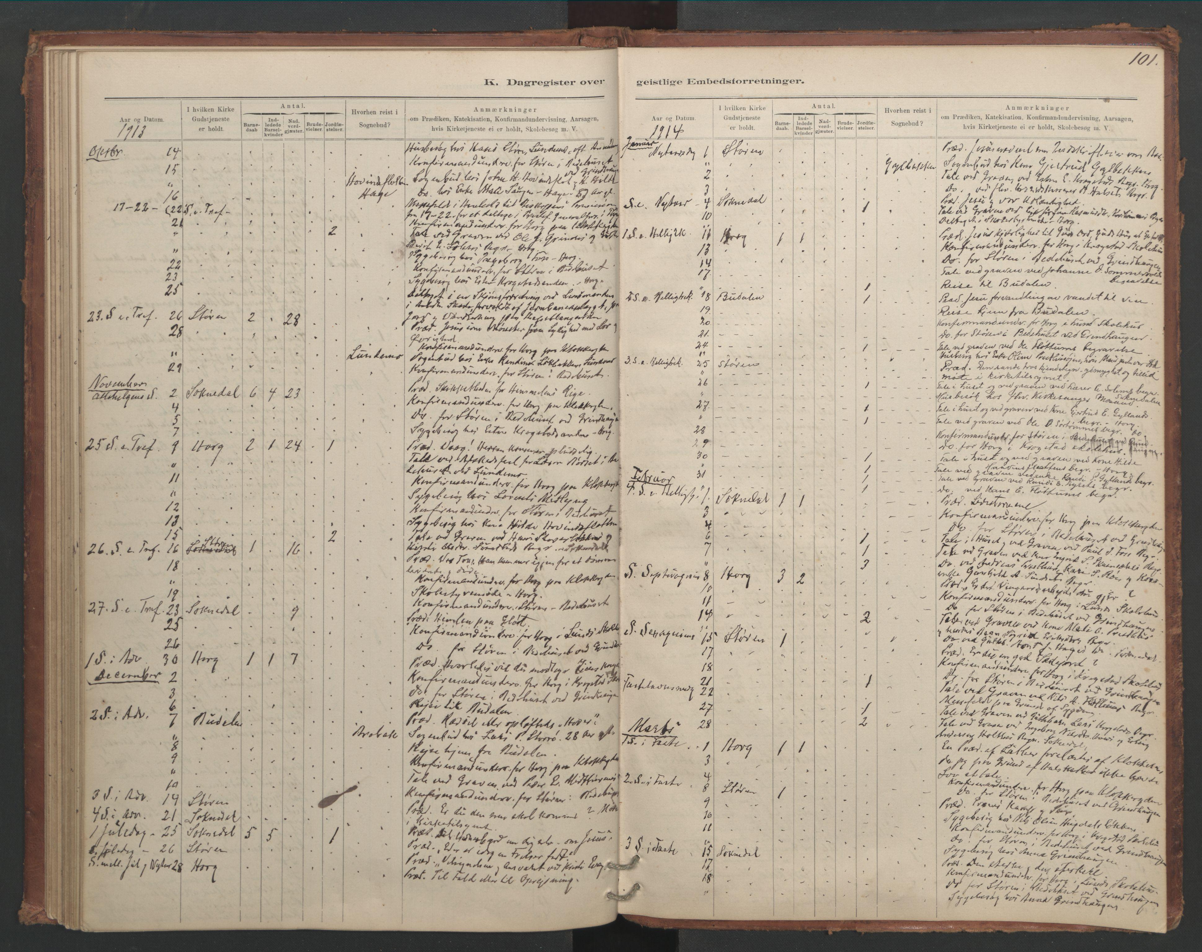 SAT, Ministerialprotokoller, klokkerbøker og fødselsregistre - Sør-Trøndelag, 687/L1012: Dagregister nr. 687B01, 1887-1914, s. 101