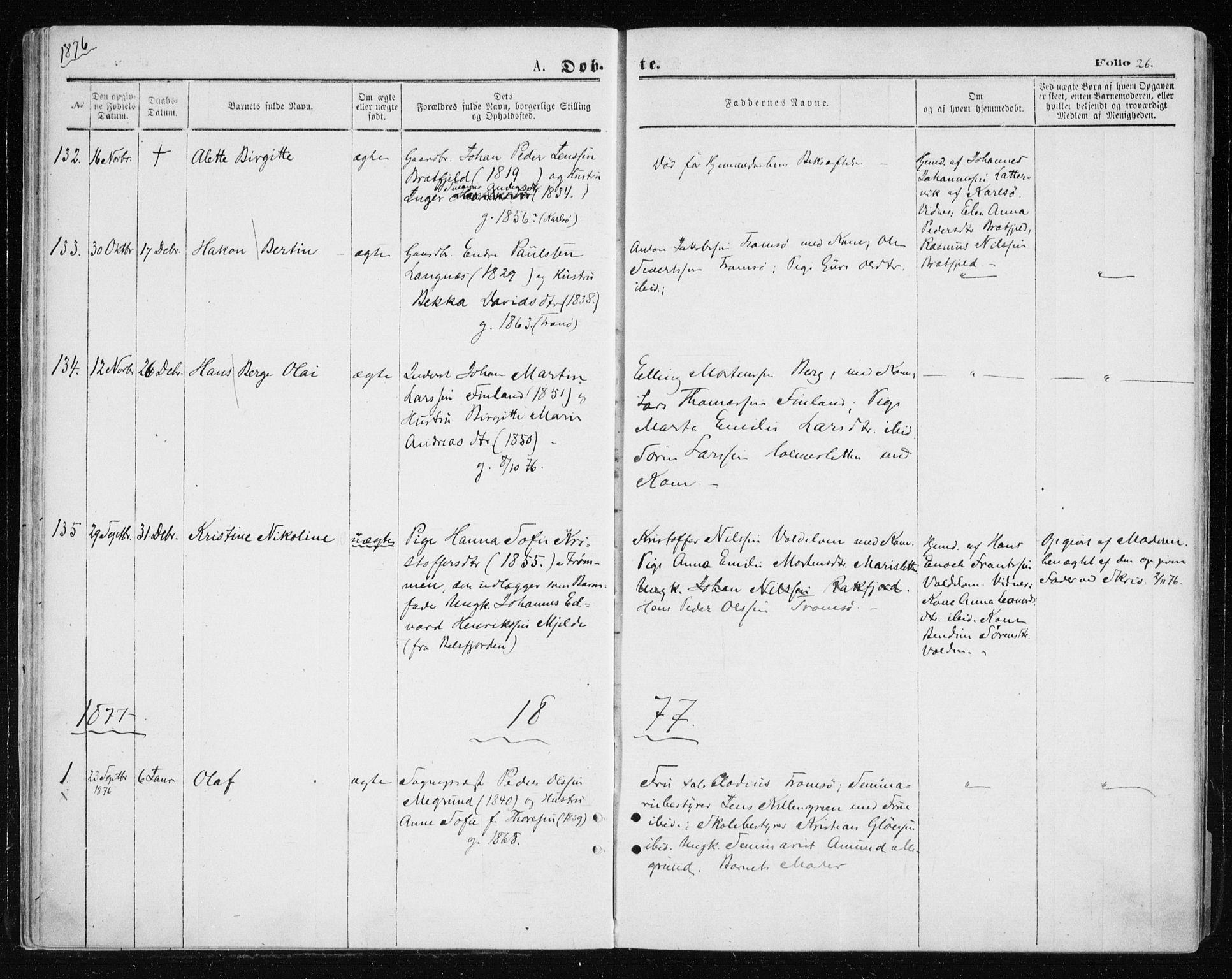 SATØ, Tromsøysund sokneprestkontor, G/Ga/L0003kirke: Ministerialbok nr. 3, 1875-1880, s. 26