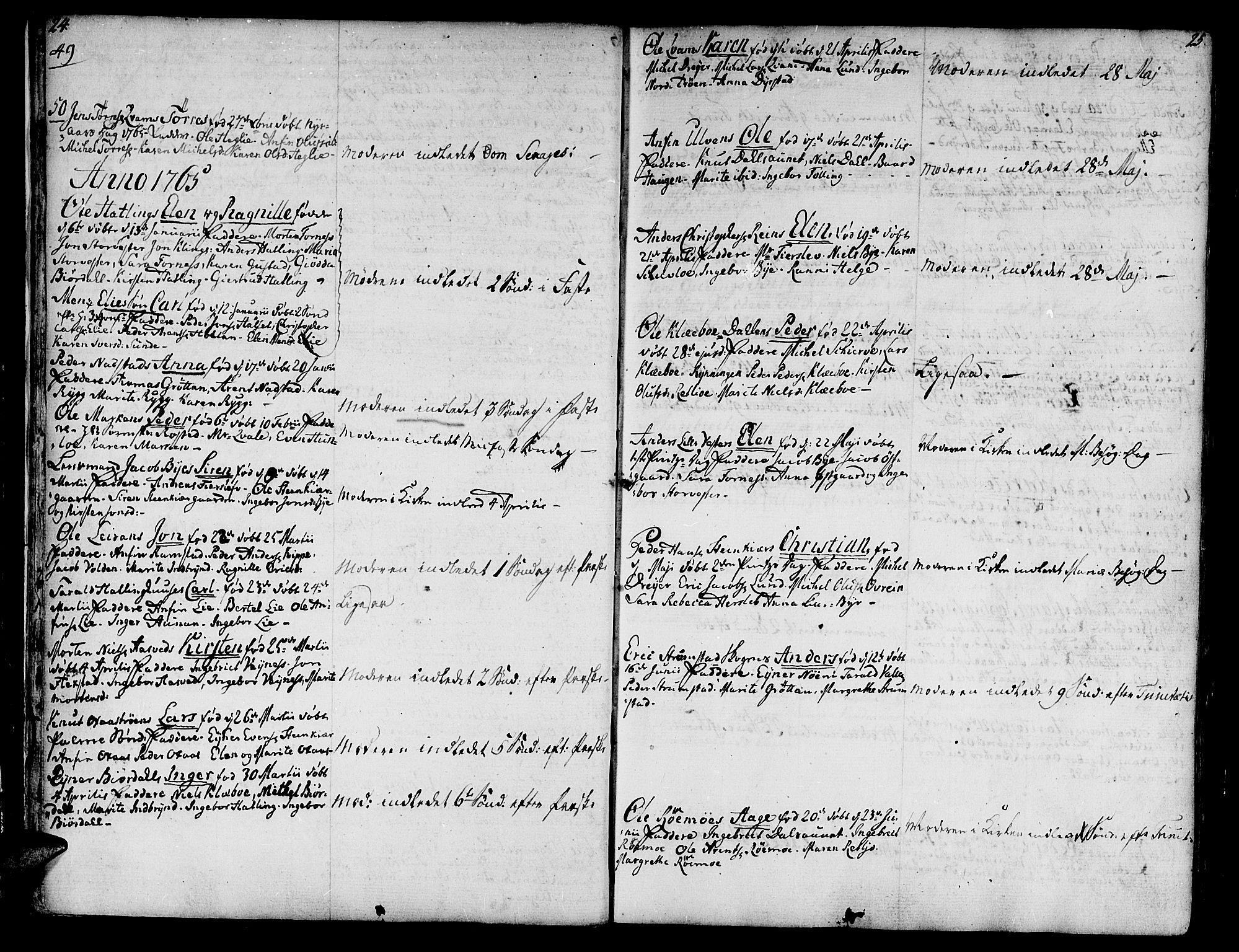 SAT, Ministerialprotokoller, klokkerbøker og fødselsregistre - Nord-Trøndelag, 746/L0440: Ministerialbok nr. 746A02, 1760-1815, s. 24-25