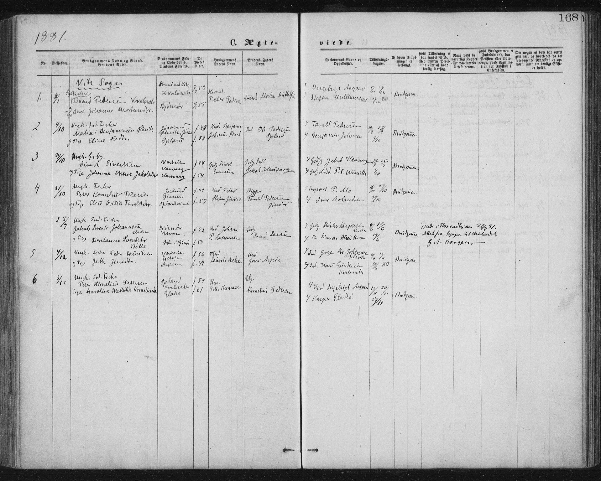 SAT, Ministerialprotokoller, klokkerbøker og fødselsregistre - Nord-Trøndelag, 771/L0596: Ministerialbok nr. 771A03, 1870-1884, s. 168