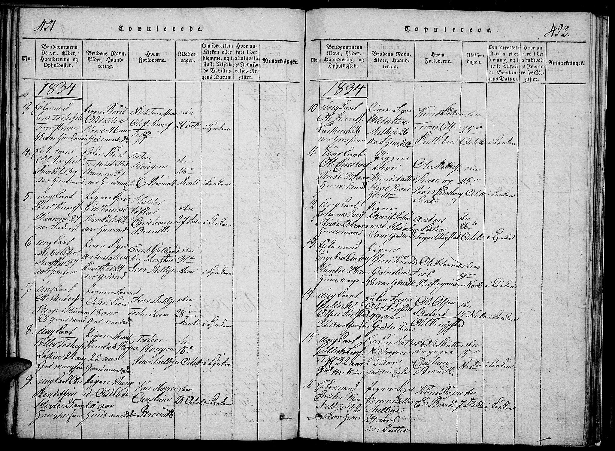 SAH, Slidre prestekontor, Klokkerbok nr. 2, 1814-1839, s. 451-452