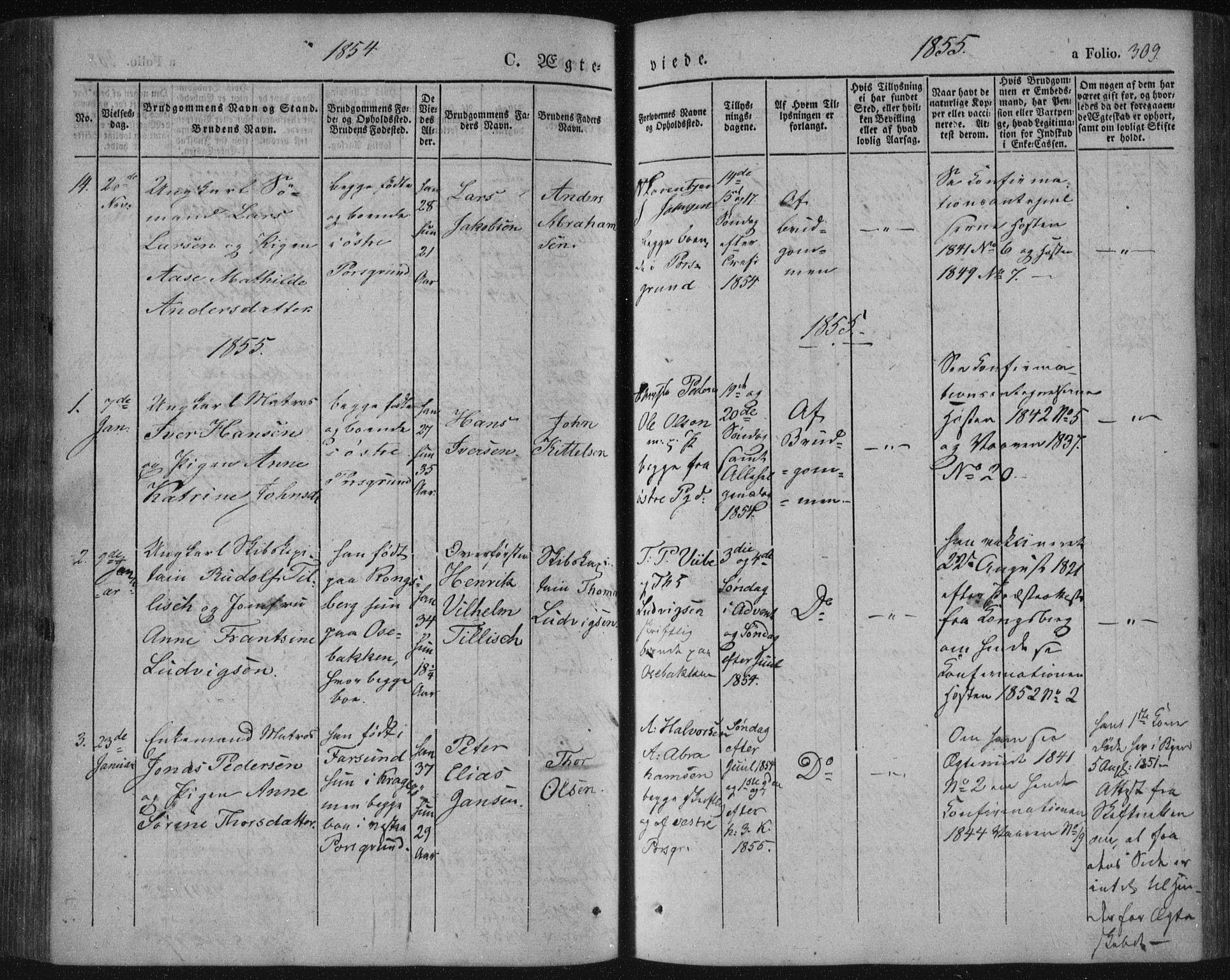 SAKO, Porsgrunn kirkebøker , F/Fa/L0006: Ministerialbok nr. 6, 1841-1857, s. 309