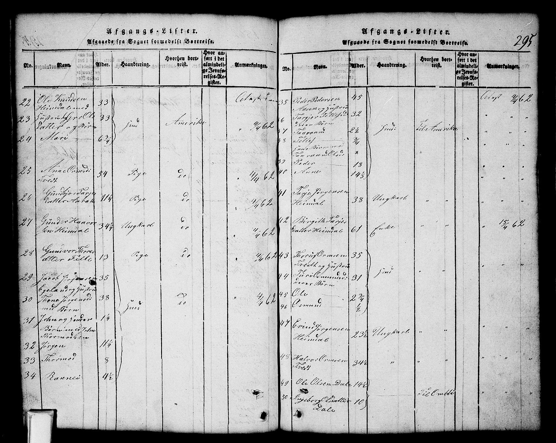 SAKO, Nissedal kirkebøker, G/Gb/L0001: Klokkerbok nr. II 1, 1814-1862, s. 295