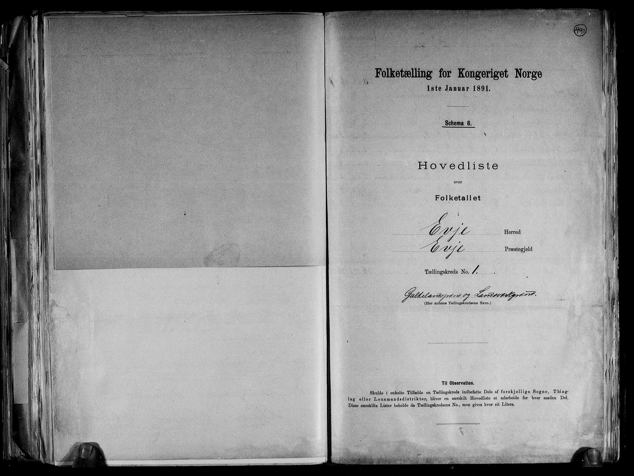 RA, Folketelling 1891 for 0937 Evje herred, 1891, s. 5
