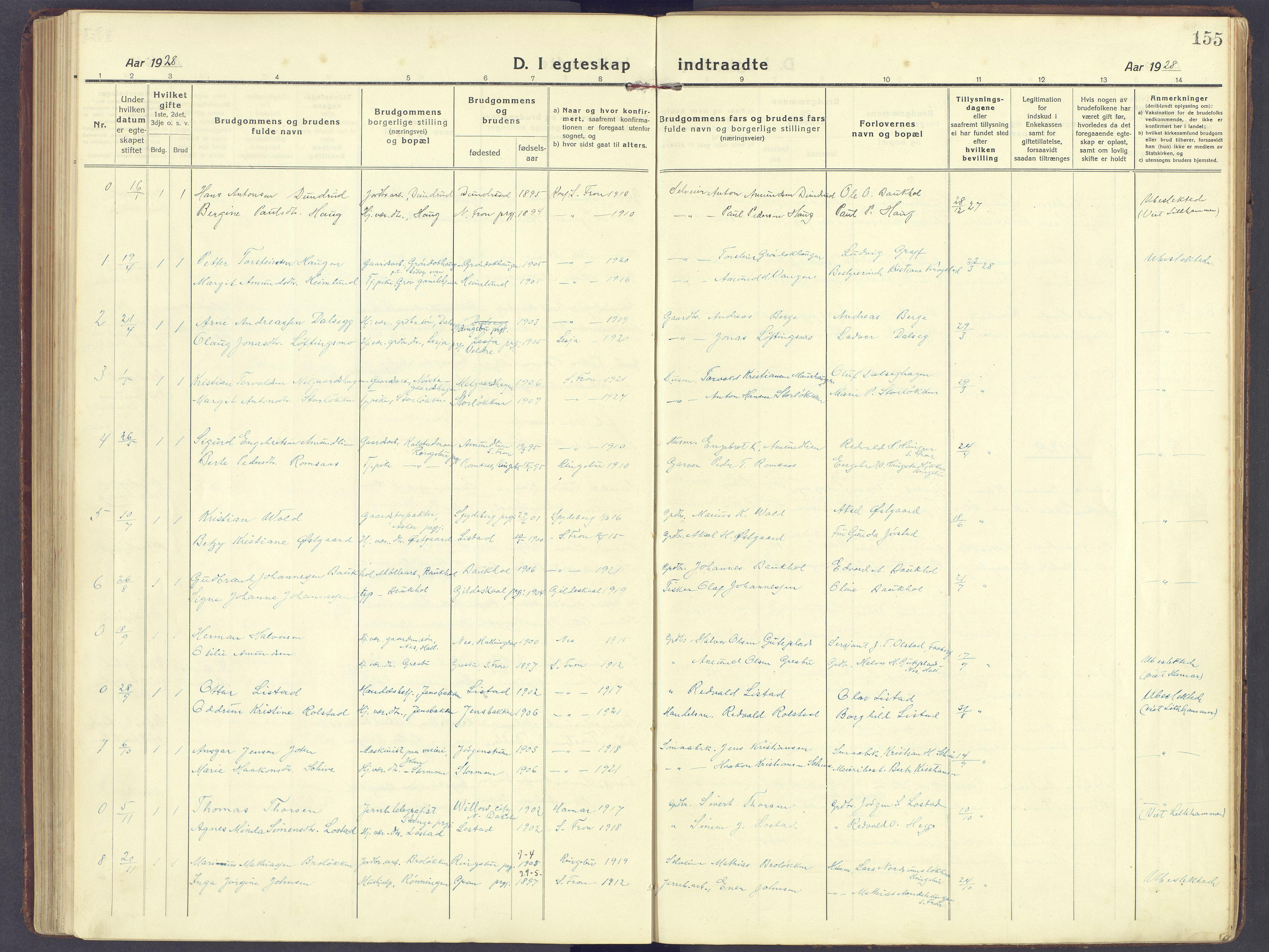 SAH, Sør-Fron prestekontor, H/Ha/Haa/L0005: Ministerialbok nr. 5, 1920-1933, s. 155