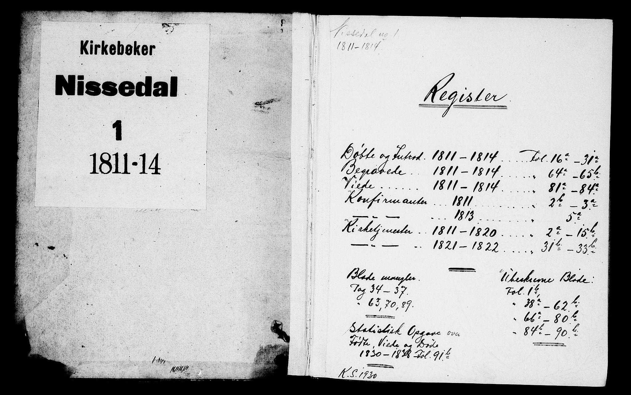 SAKO, Nissedal kirkebøker, F/Fa/L0001: Ministerialbok nr. I 1, 1811-1814
