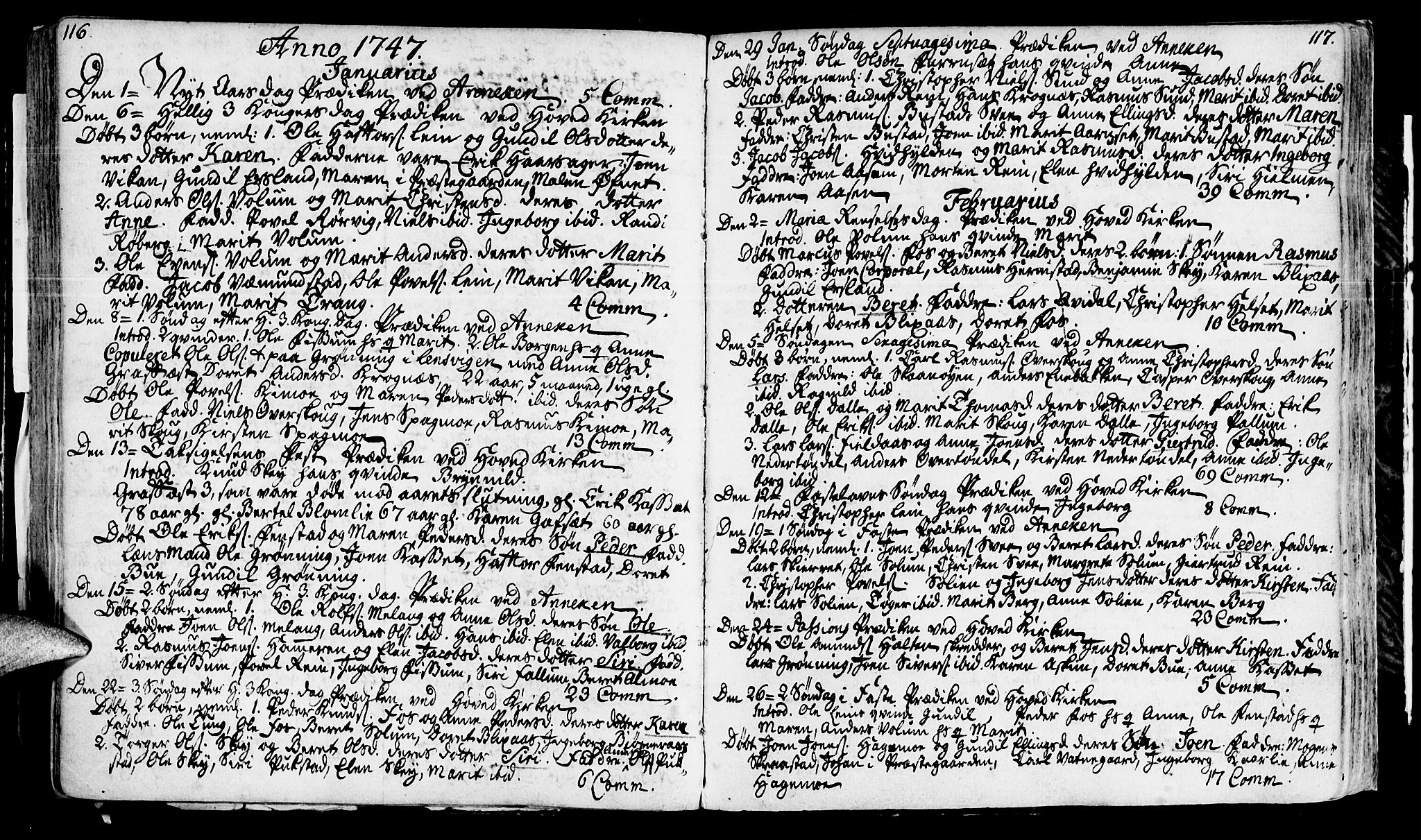 SAT, Ministerialprotokoller, klokkerbøker og fødselsregistre - Sør-Trøndelag, 646/L0604: Ministerialbok nr. 646A02, 1735-1750, s. 116-117