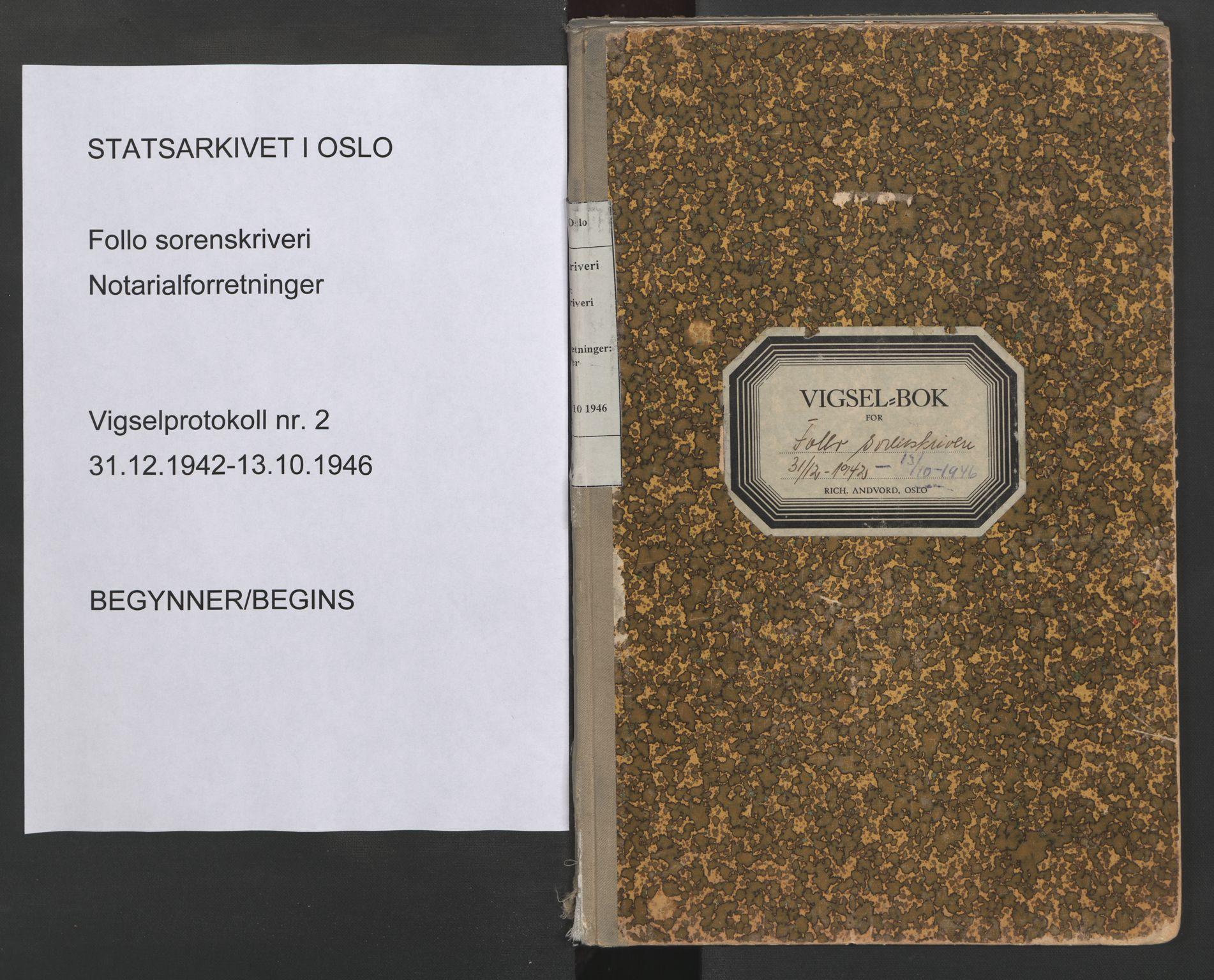 SAO, Follo sorenskriveri, L/La/Lab/L0002: Vigselsbok, 1942-1946, s. upaginert