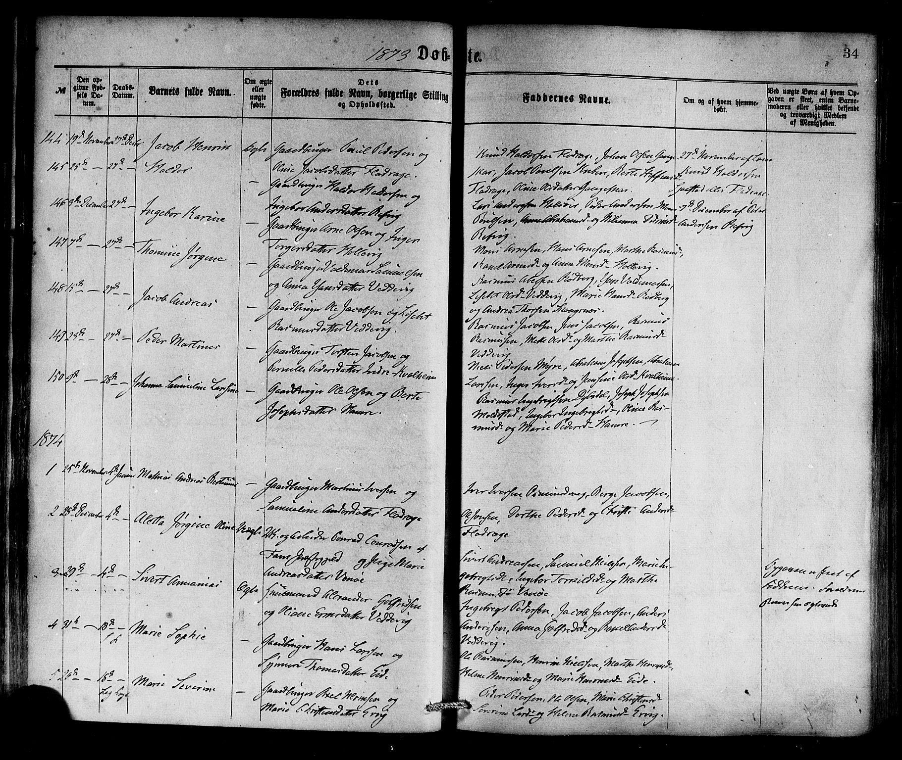 SAB, Selje sokneprestembete*, Ministerialbok nr. A 12, 1870-1880, s. 34