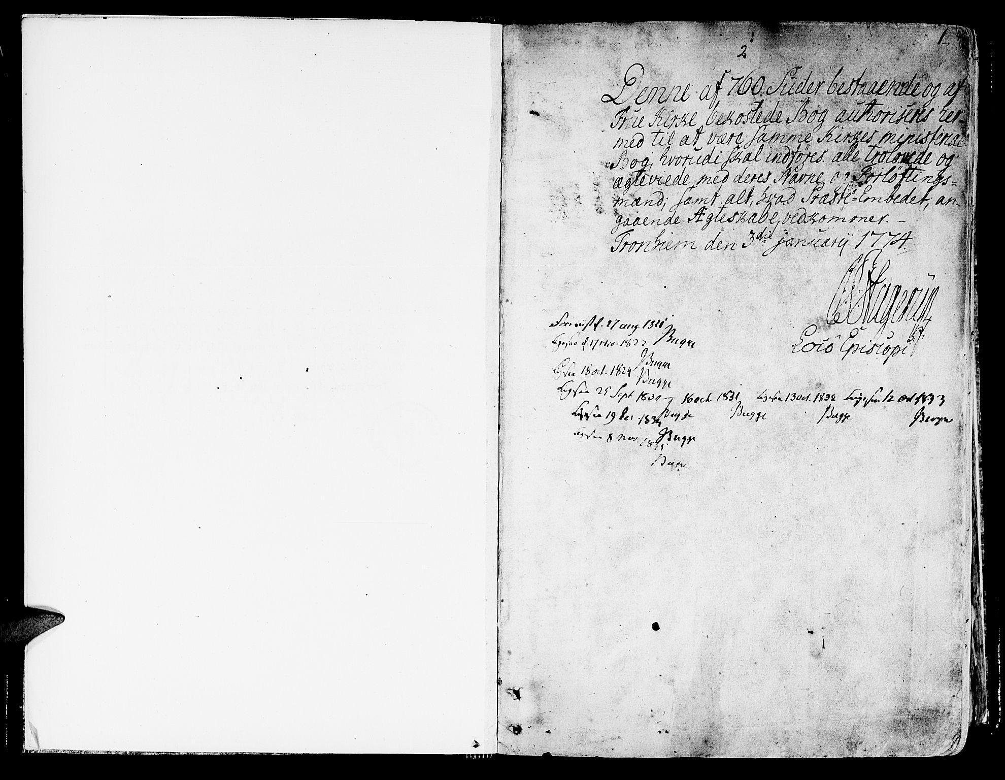 SAT, Ministerialprotokoller, klokkerbøker og fødselsregistre - Sør-Trøndelag, 602/L0105: Ministerialbok nr. 602A03, 1774-1814, s. 0-1