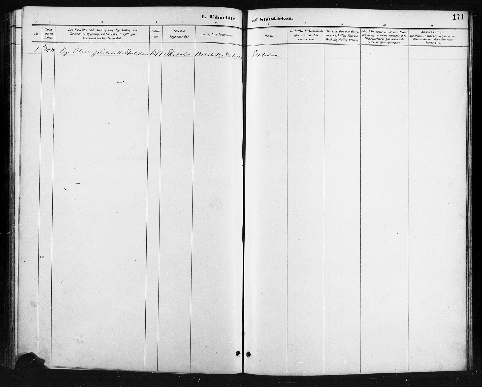 SAH, Skjåk prestekontor, Klokkerbok nr. 4, 1895-1921, s. 171