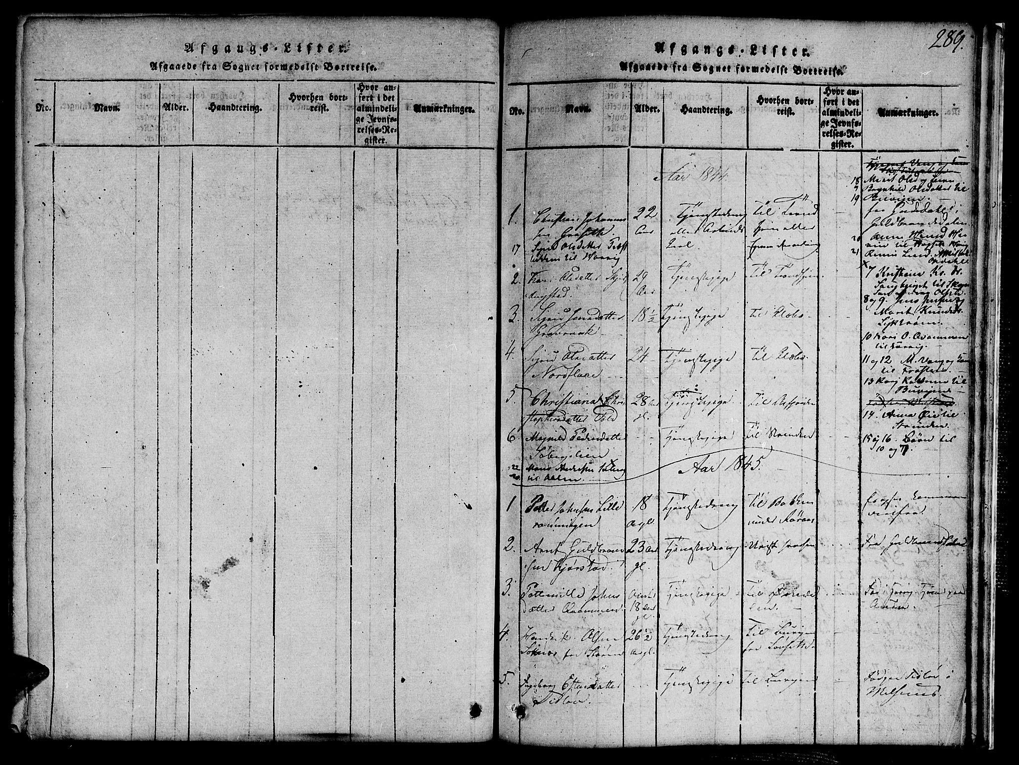 SAT, Ministerialprotokoller, klokkerbøker og fødselsregistre - Sør-Trøndelag, 691/L1092: Klokkerbok nr. 691C03, 1816-1852, s. 289