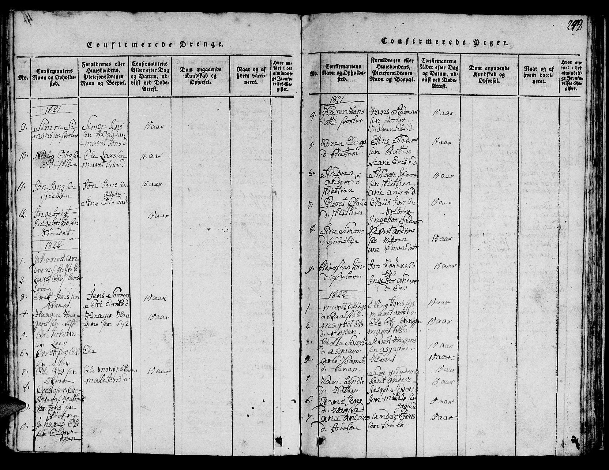 SAT, Ministerialprotokoller, klokkerbøker og fødselsregistre - Sør-Trøndelag, 613/L0393: Klokkerbok nr. 613C01, 1816-1886, s. 242