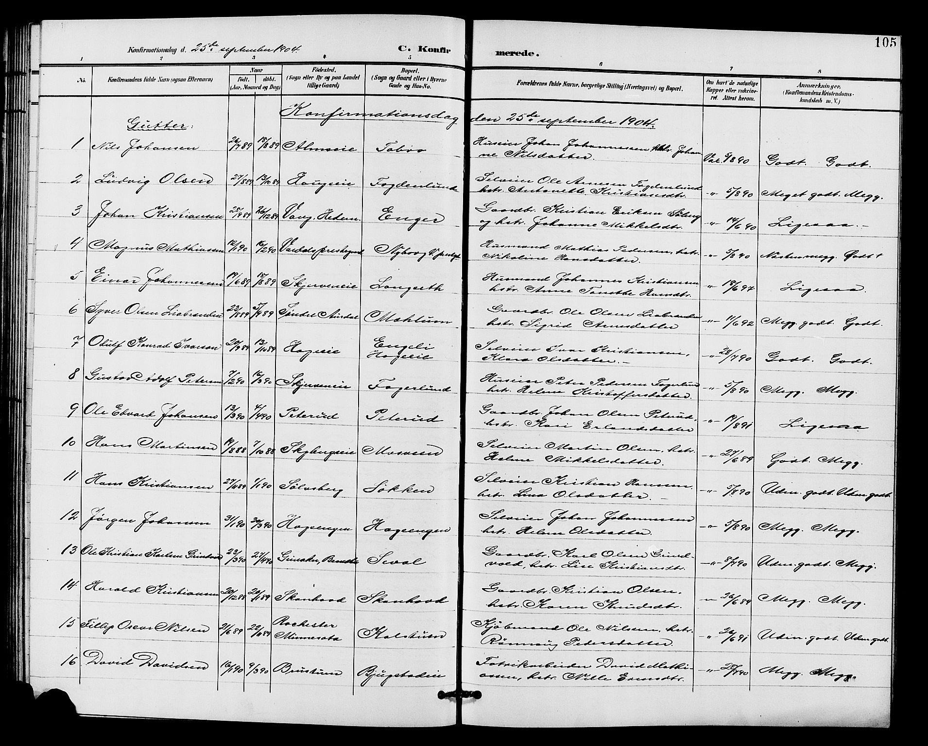 SAH, Vardal prestekontor, H/Ha/Hab/L0011: Klokkerbok nr. 11, 1899-1913, s. 105