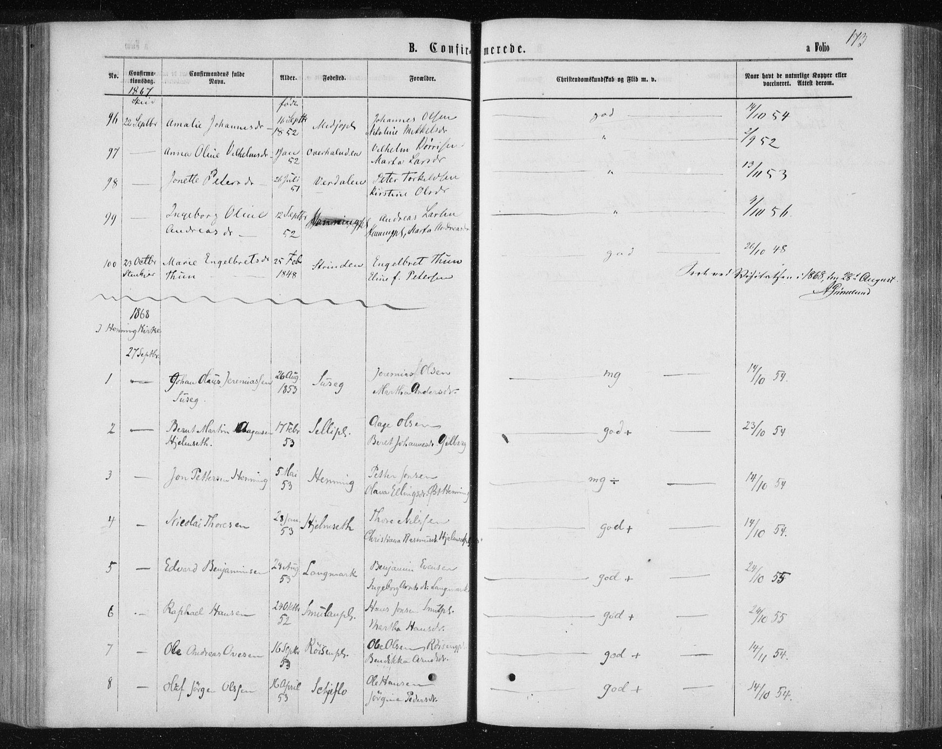 SAT, Ministerialprotokoller, klokkerbøker og fødselsregistre - Nord-Trøndelag, 735/L0345: Ministerialbok nr. 735A08 /1, 1863-1872, s. 173