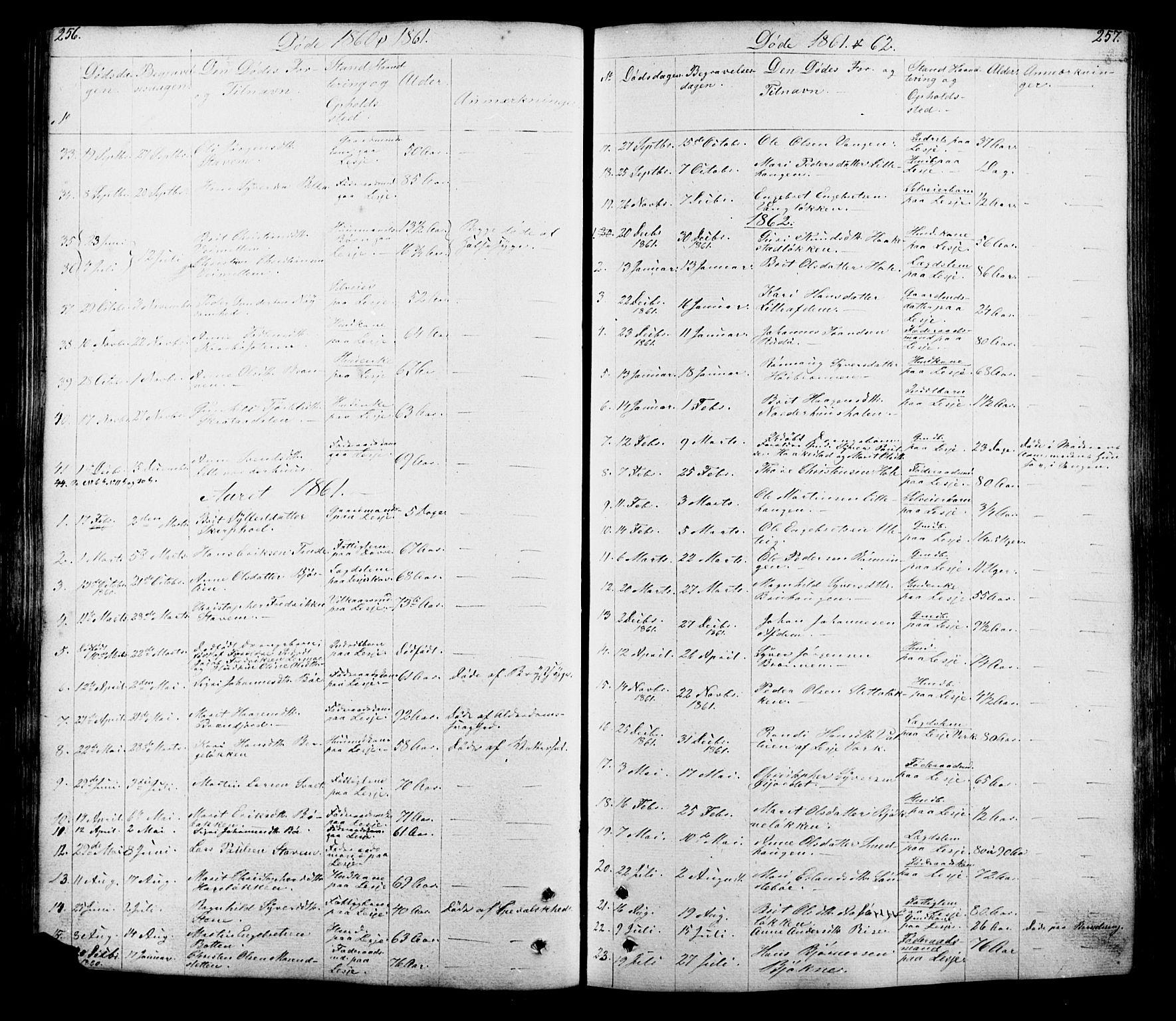 SAH, Lesja prestekontor, Klokkerbok nr. 5, 1850-1894, s. 256-257