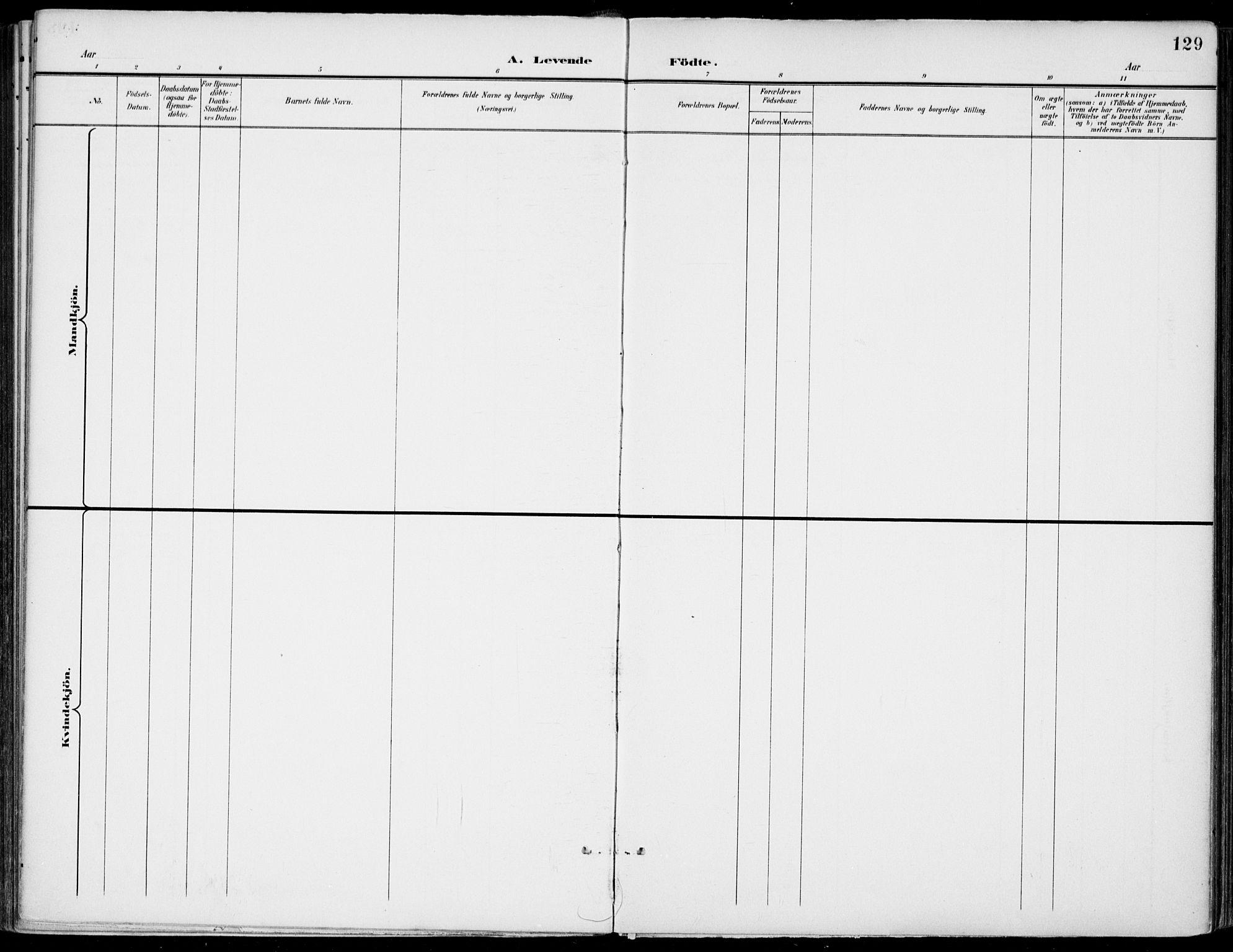 SAKO, Gjerpen kirkebøker, F/Fa/L0011: Ministerialbok nr. 11, 1896-1904, s. 129