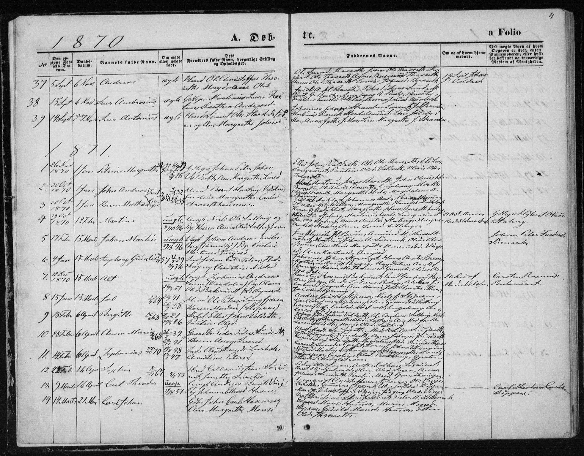 SAT, Ministerialprotokoller, klokkerbøker og fødselsregistre - Nord-Trøndelag, 733/L0324: Ministerialbok nr. 733A03, 1870-1883, s. 4