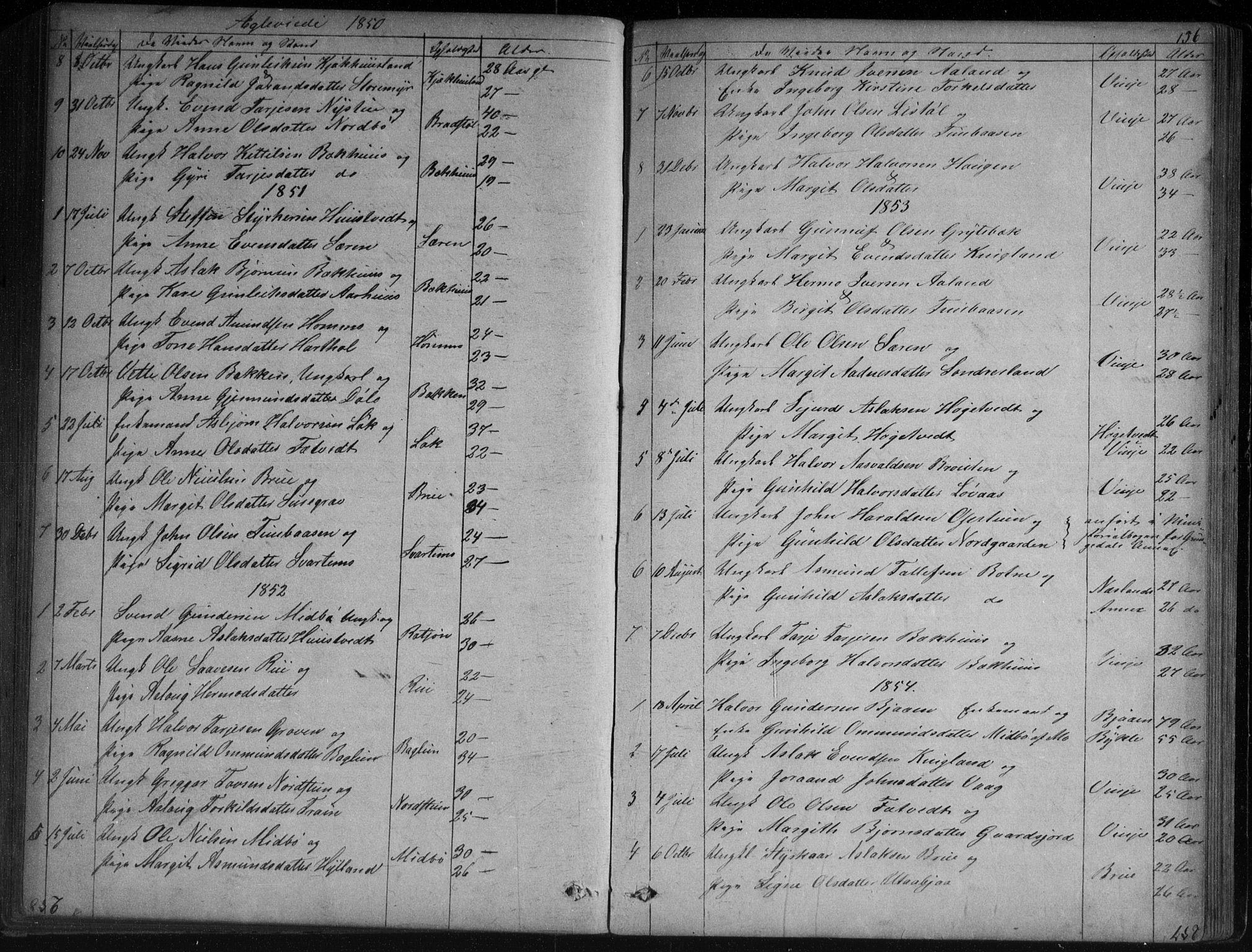 SAKO, Vinje kirkebøker, G/Ga/L0002: Klokkerbok nr. I 2, 1849-1893, s. 156