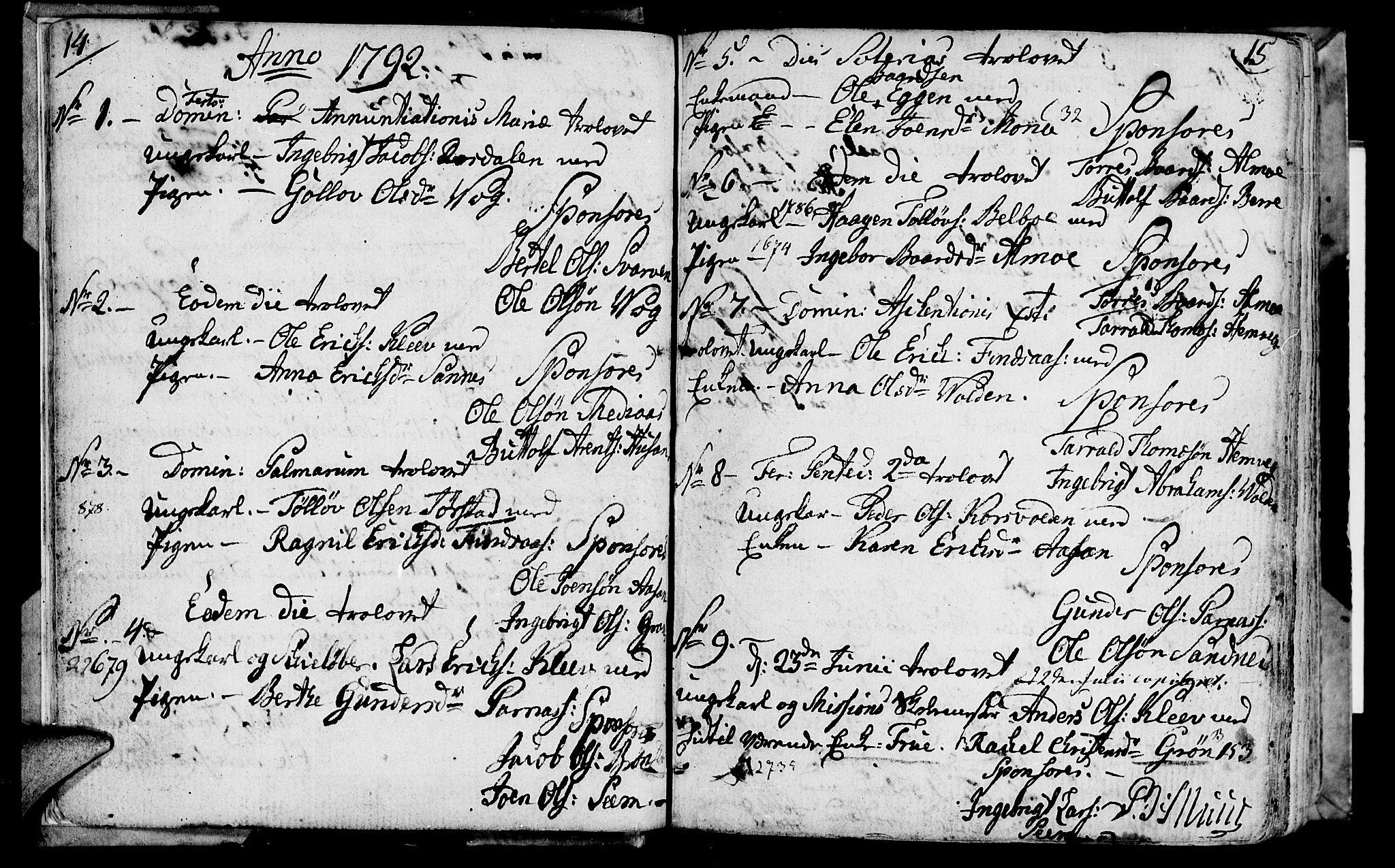 SAT, Ministerialprotokoller, klokkerbøker og fødselsregistre - Nord-Trøndelag, 749/L0468: Ministerialbok nr. 749A02, 1787-1817, s. 14-15