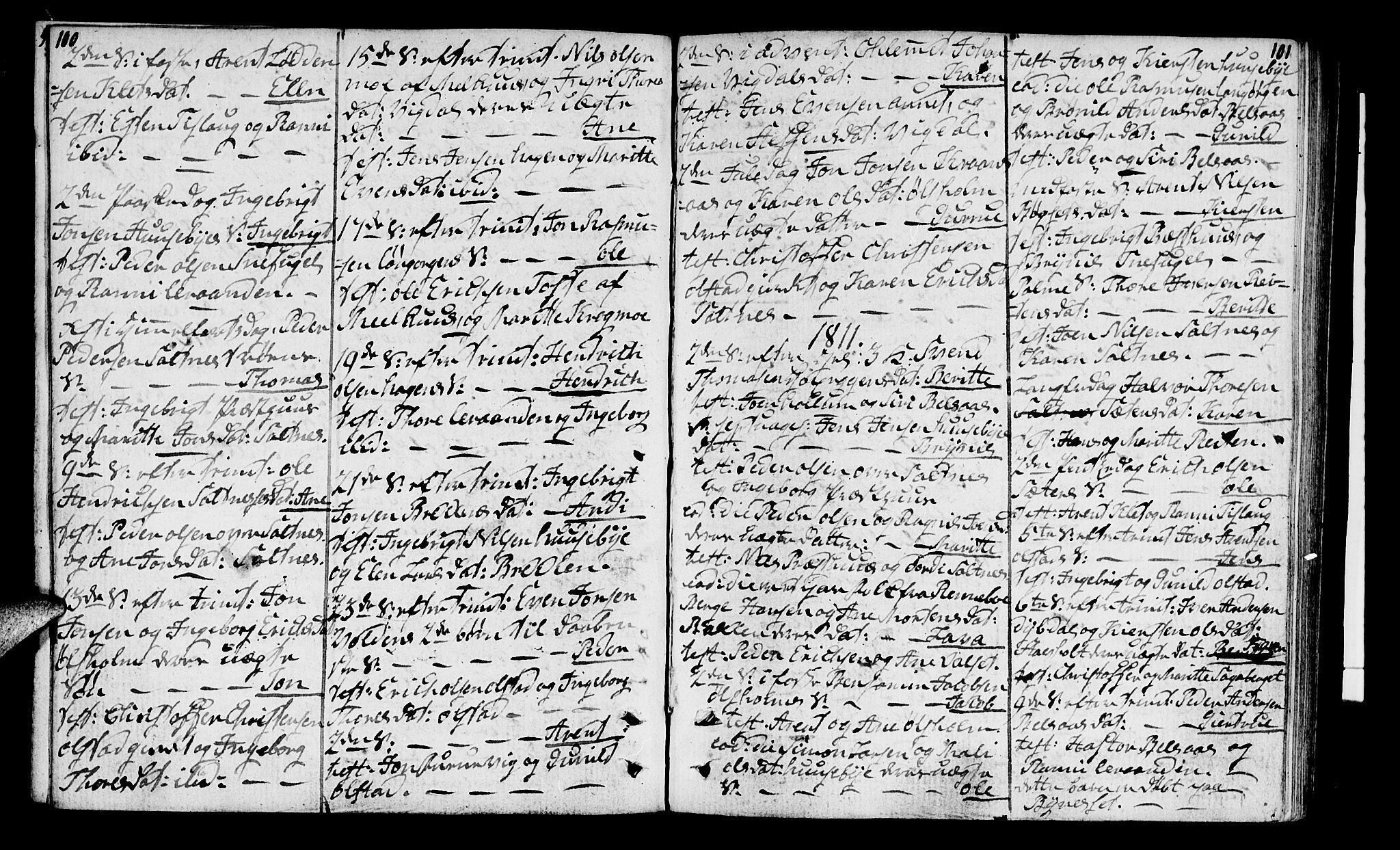 SAT, Ministerialprotokoller, klokkerbøker og fødselsregistre - Sør-Trøndelag, 666/L0785: Ministerialbok nr. 666A03, 1803-1816, s. 100-101