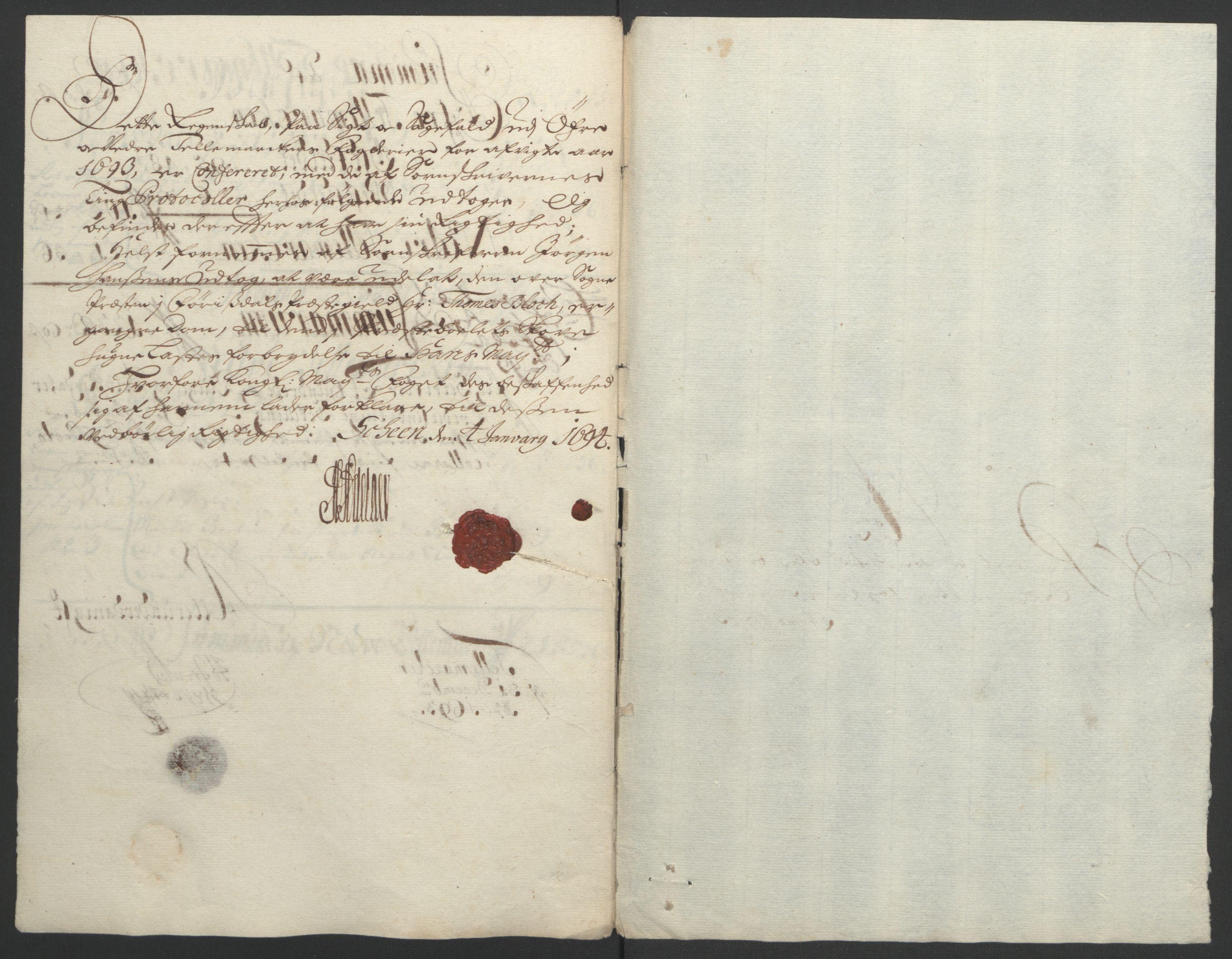 RA, Rentekammeret inntil 1814, Reviderte regnskaper, Fogderegnskap, R35/L2091: Fogderegnskap Øvre og Nedre Telemark, 1690-1693, s. 262