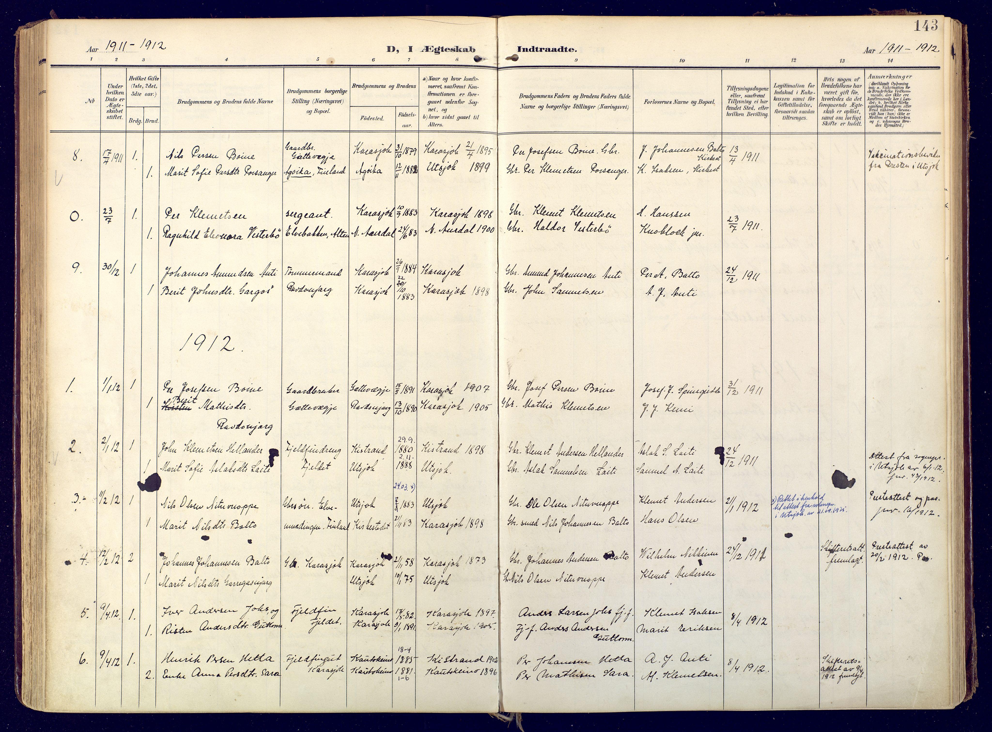 SATØ, Karasjok sokneprestkontor, H/Ha: Ministerialbok nr. 3, 1907-1926, s. 143