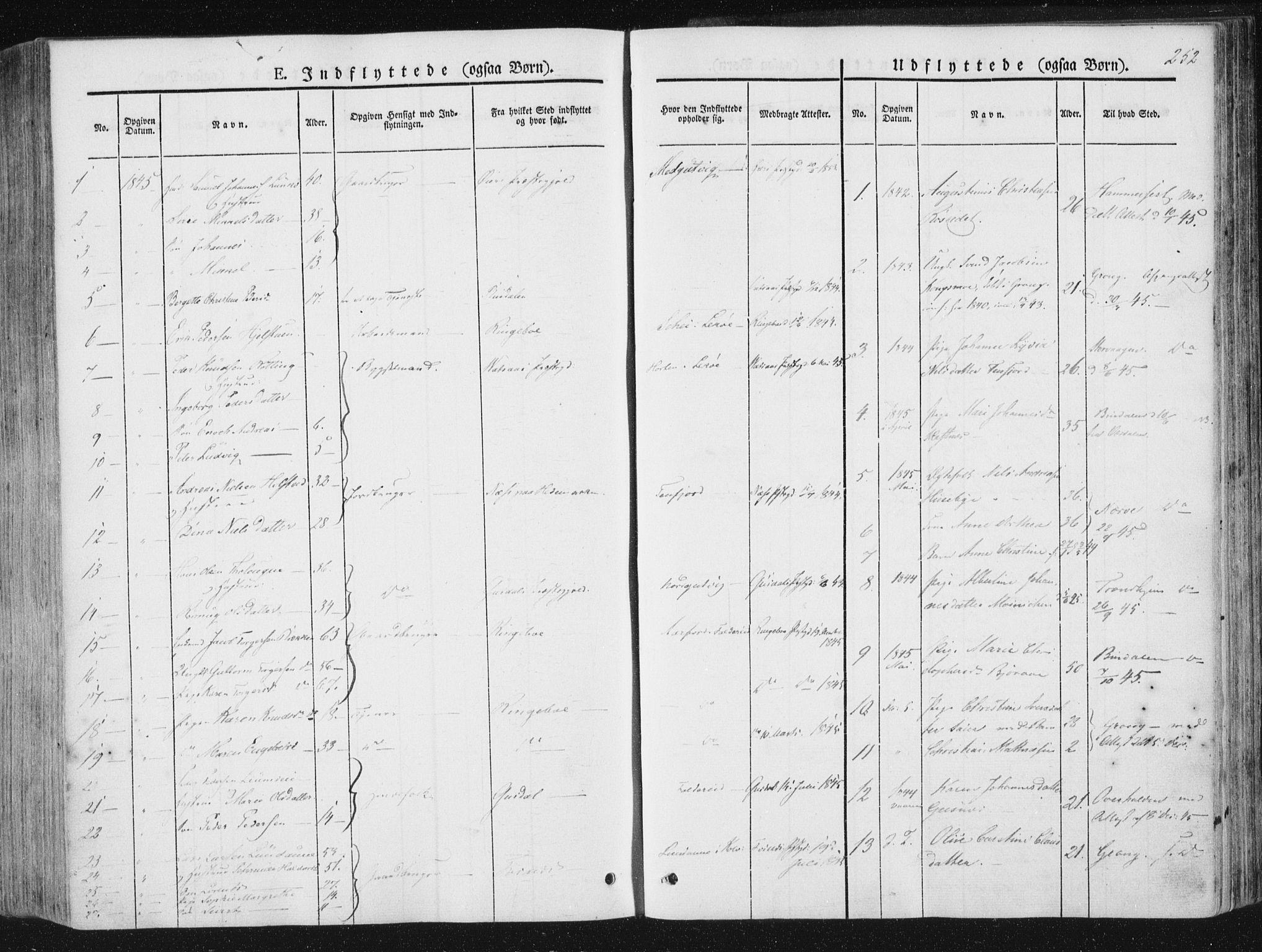 SAT, Ministerialprotokoller, klokkerbøker og fødselsregistre - Nord-Trøndelag, 780/L0640: Ministerialbok nr. 780A05, 1845-1856, s. 252