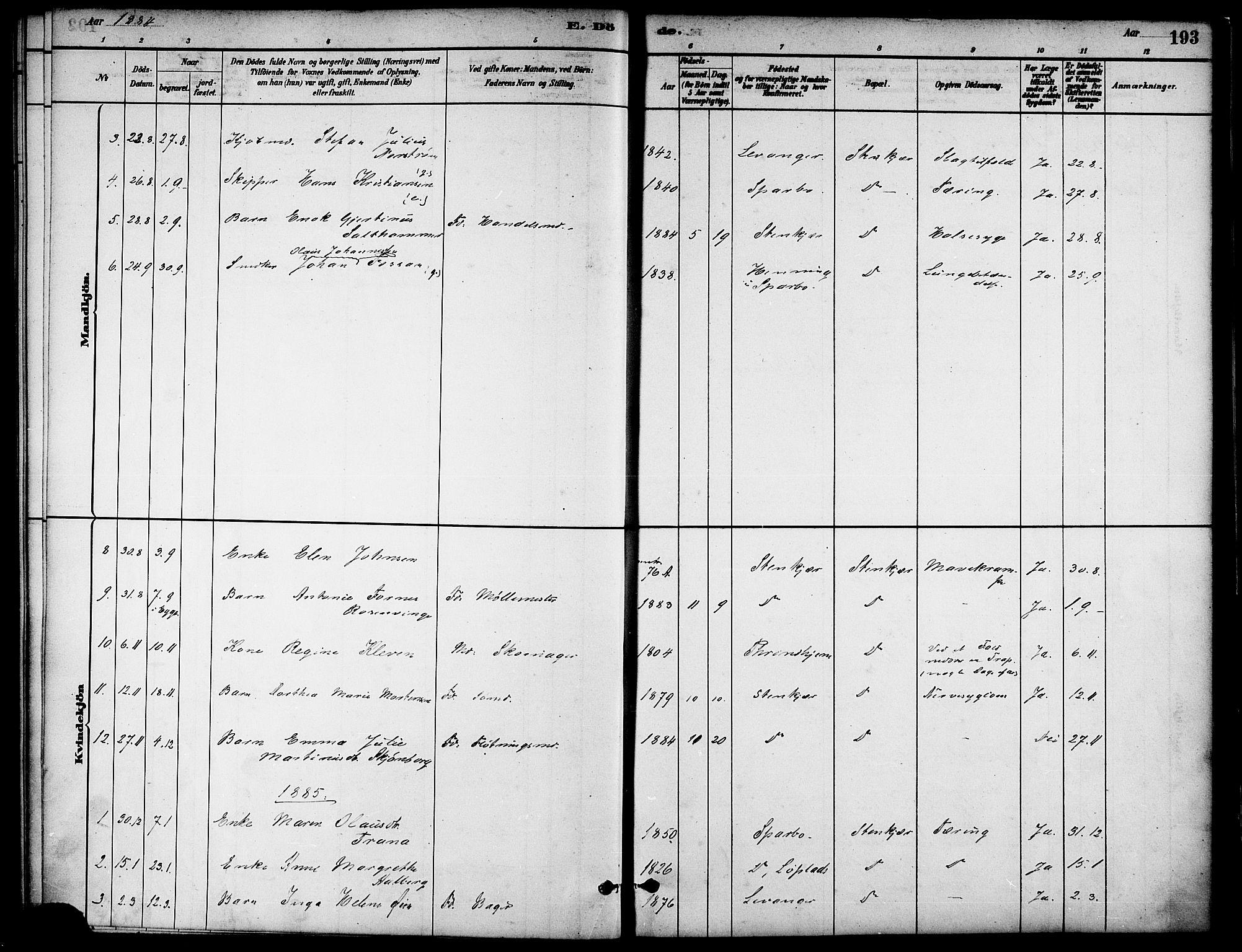 SAT, Ministerialprotokoller, klokkerbøker og fødselsregistre - Nord-Trøndelag, 739/L0371: Ministerialbok nr. 739A03, 1881-1895, s. 193