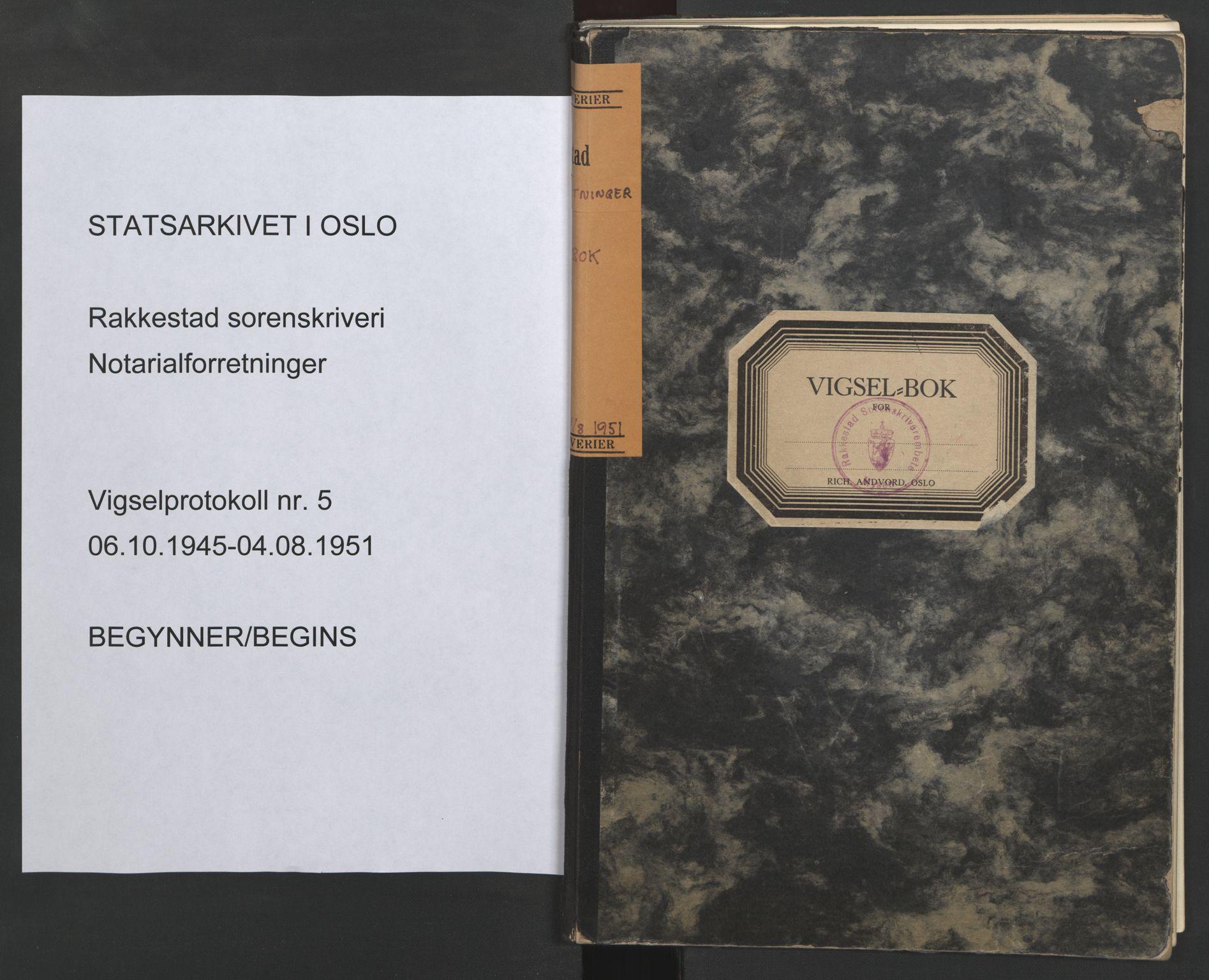 SAO, Rakkestad sorenskriveri, L/Lc/Lca/L0005: Vigselbøker, 1945-1951, s. upaginert