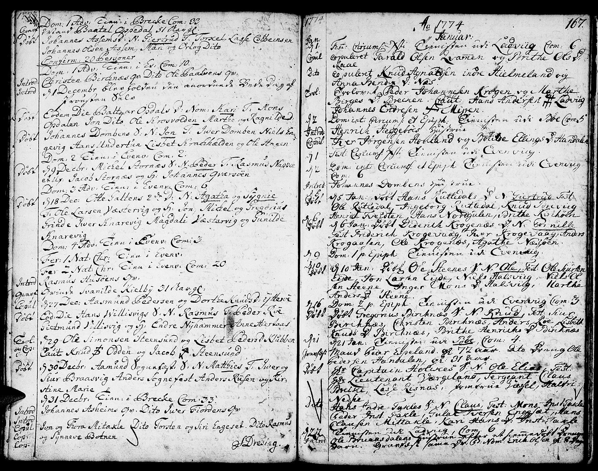 SAB, Gulen sokneprestembete, Ministerialbok nr. A 12, 1749-1776, s. 167