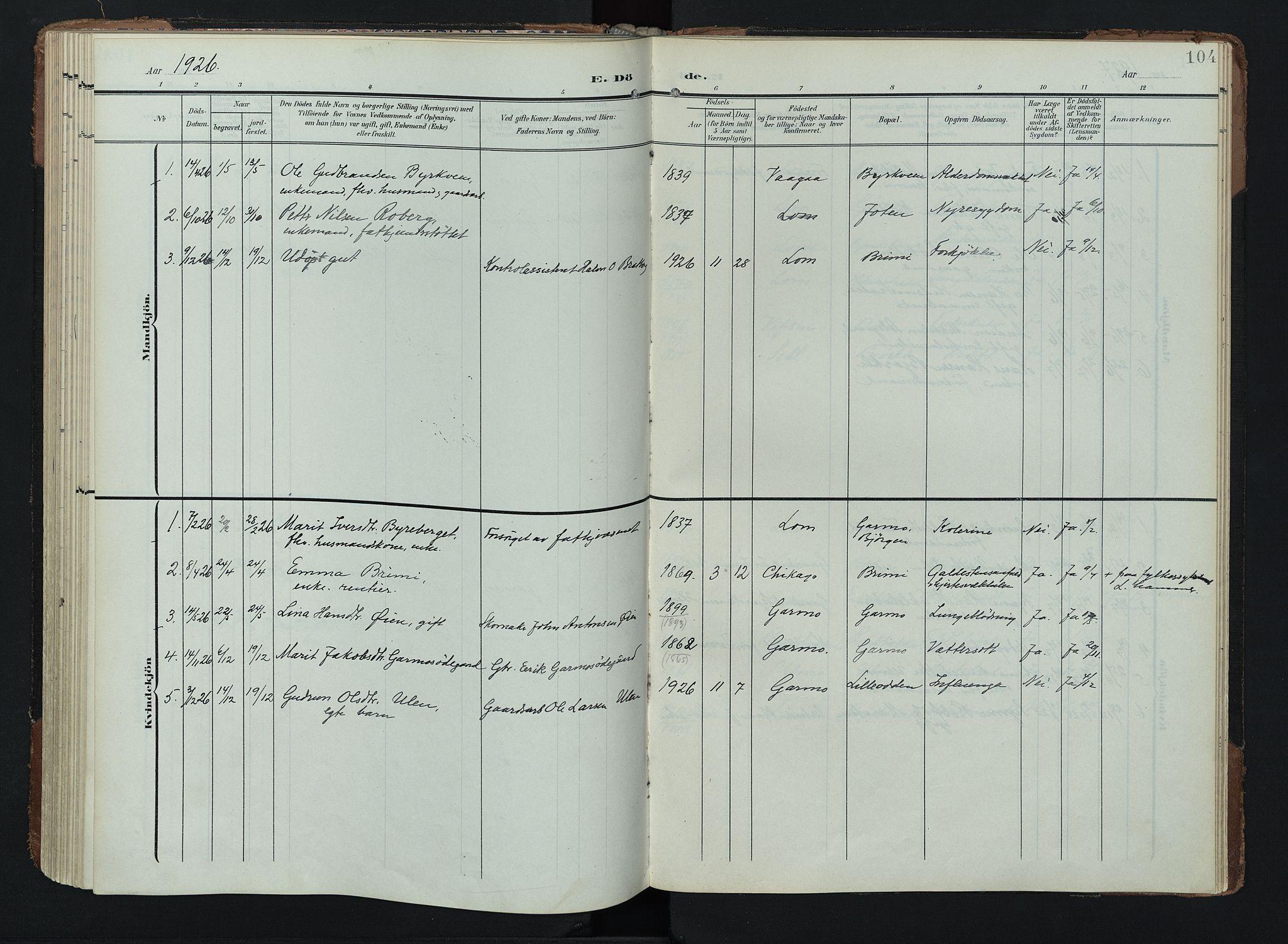 SAH, Lom prestekontor, K/L0011: Ministerialbok nr. 11, 1904-1928, s. 104