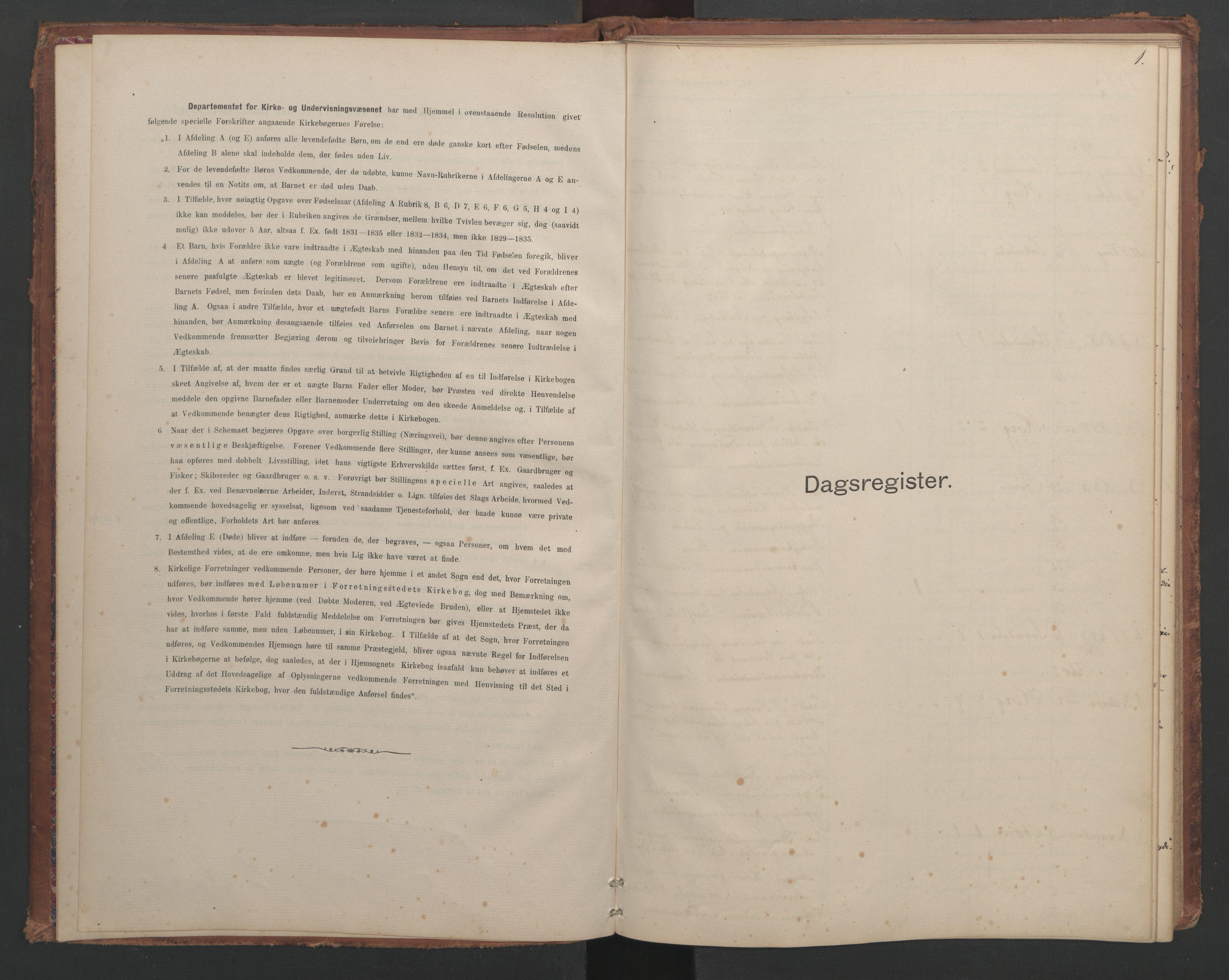 SAT, Ministerialprotokoller, klokkerbøker og fødselsregistre - Sør-Trøndelag, 687/L1012: Dagregister nr. 687B01, 1887-1914