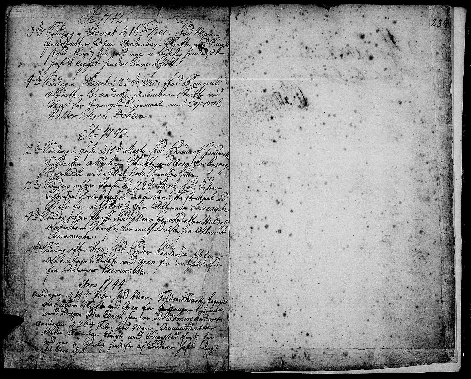 SAH, Gran prestekontor, Ministerialbok nr. 2, 1732-1744, s. 239