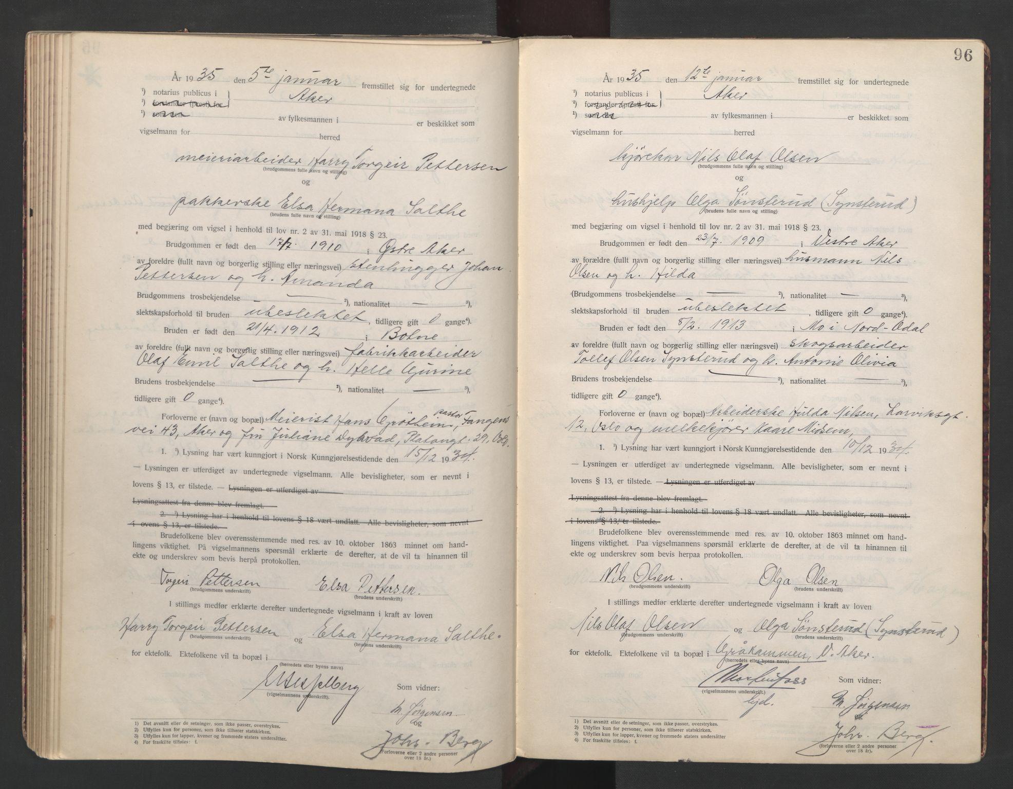 SAO, Aker sorenskriveri, L/Lc/Lcb/L0007: Vigselprotokoll, 1933-1935, s. 96