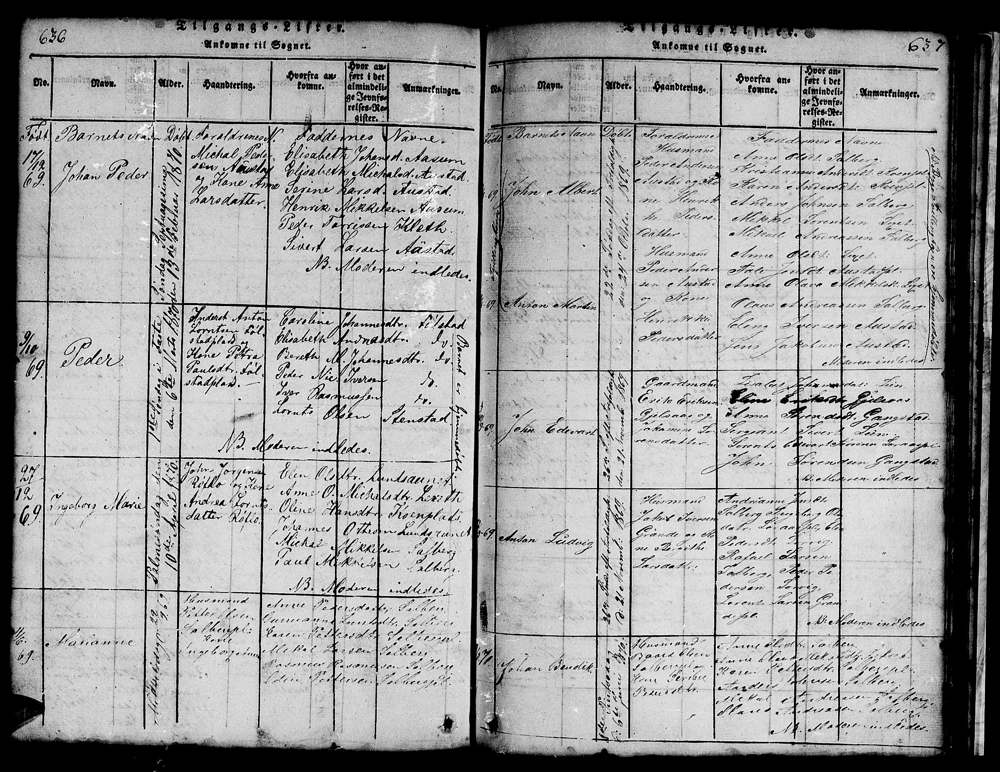 SAT, Ministerialprotokoller, klokkerbøker og fødselsregistre - Nord-Trøndelag, 731/L0310: Klokkerbok nr. 731C01, 1816-1874, s. 636-637