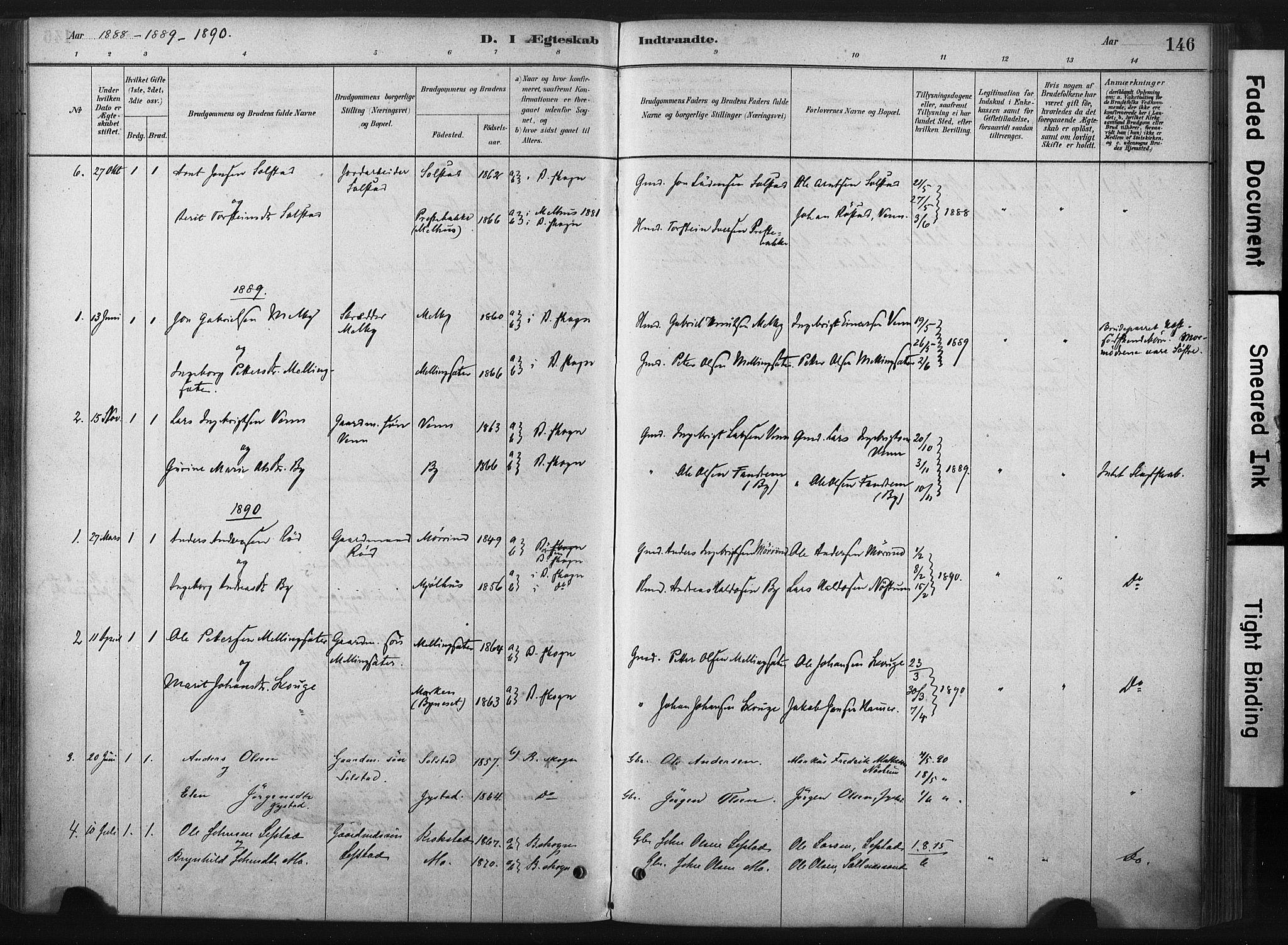 SAT, Ministerialprotokoller, klokkerbøker og fødselsregistre - Sør-Trøndelag, 667/L0795: Ministerialbok nr. 667A03, 1879-1907, s. 146